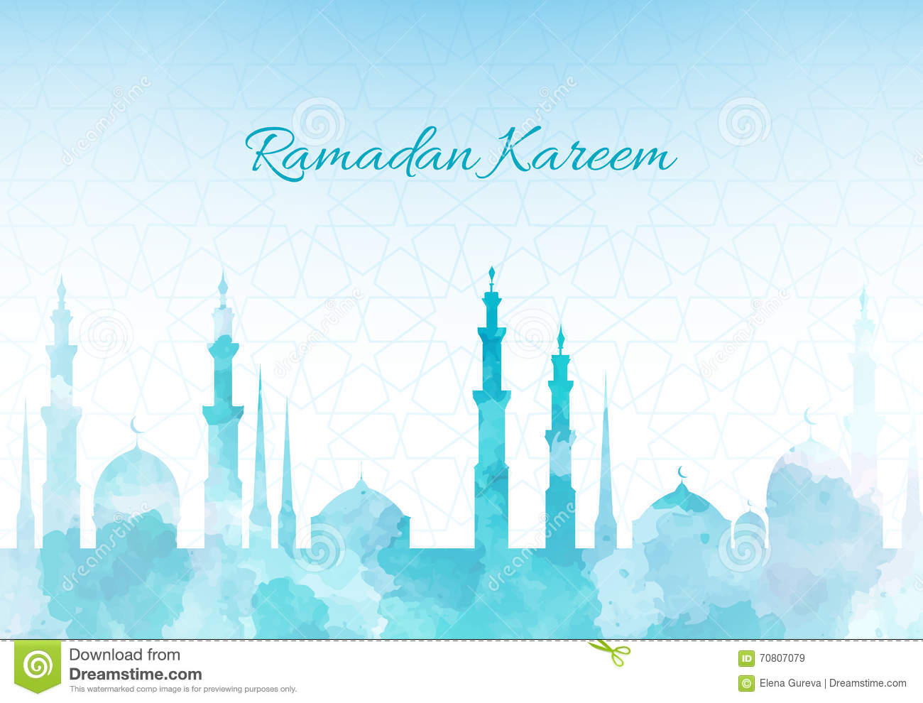 Mosque background for ramadan kareem stock photography image - Ramadan Kareem Greeting Background Mosque Watercolor Illustration With Arabic Town Royalty Free Stock Images