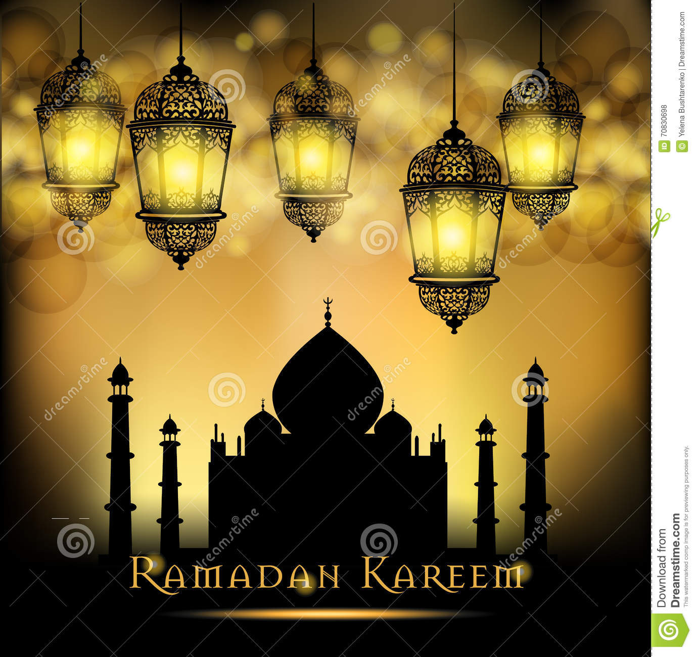 Ramadan Kareem Greeting On Blurred Background With Beautiful ...