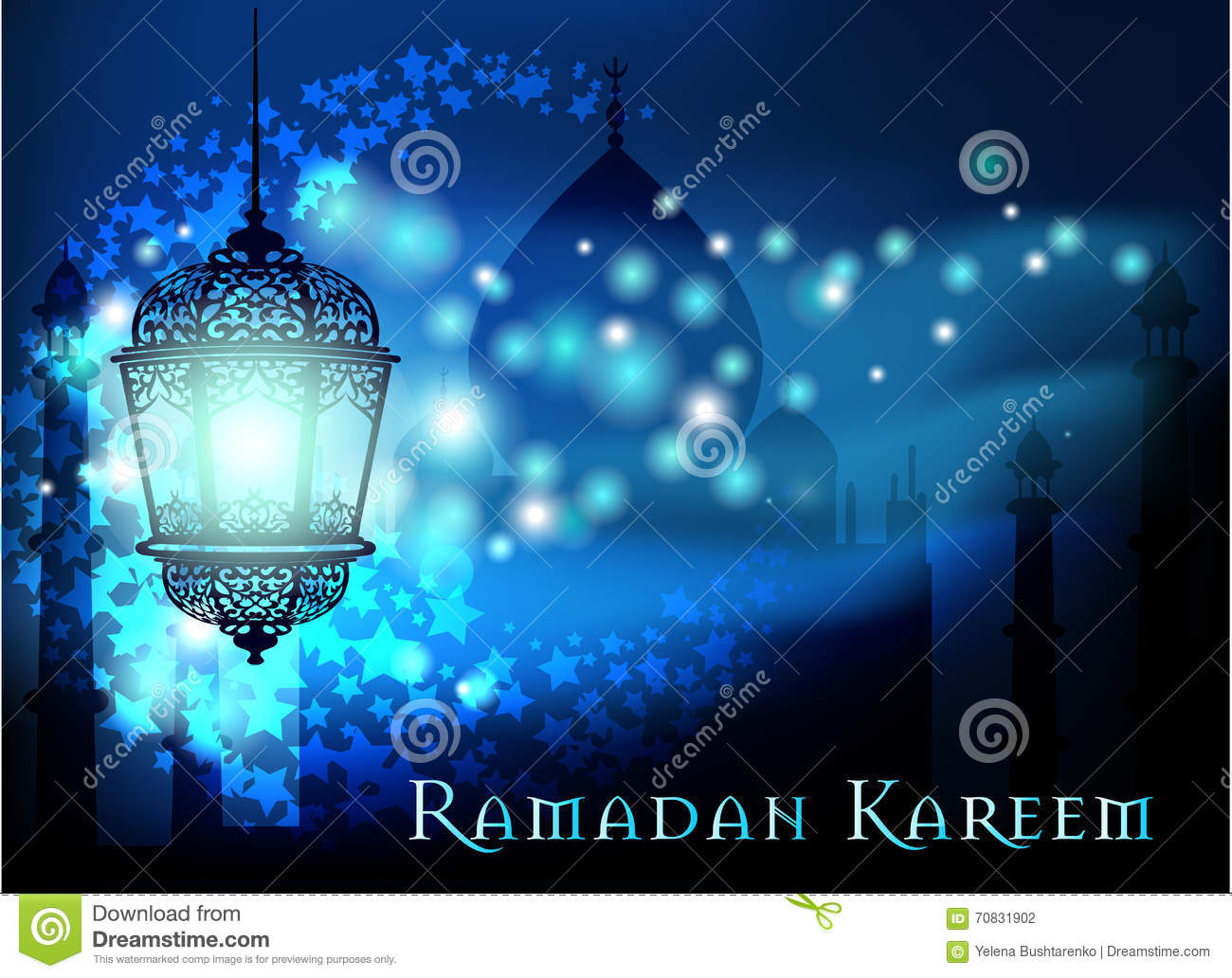 Ramadan kareem greeting on blurred background with beautiful download ramadan kareem greeting on blurred background with beautiful illuminated arabic lamp vector illustration stock m4hsunfo
