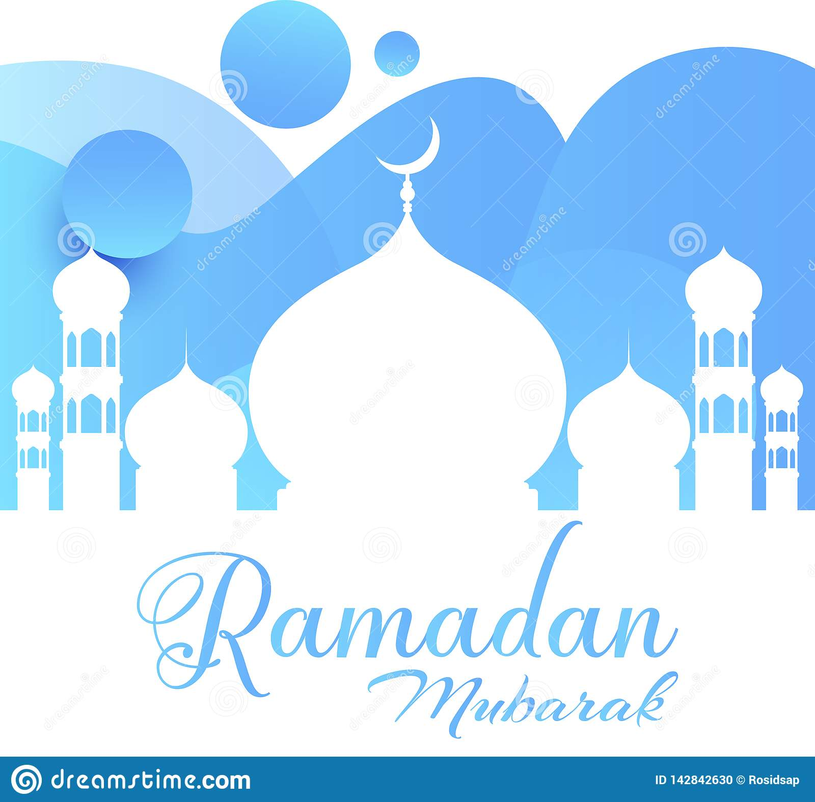 Ramadan Kareem greeting card. Bluish vector in ramadan mosque - Vector