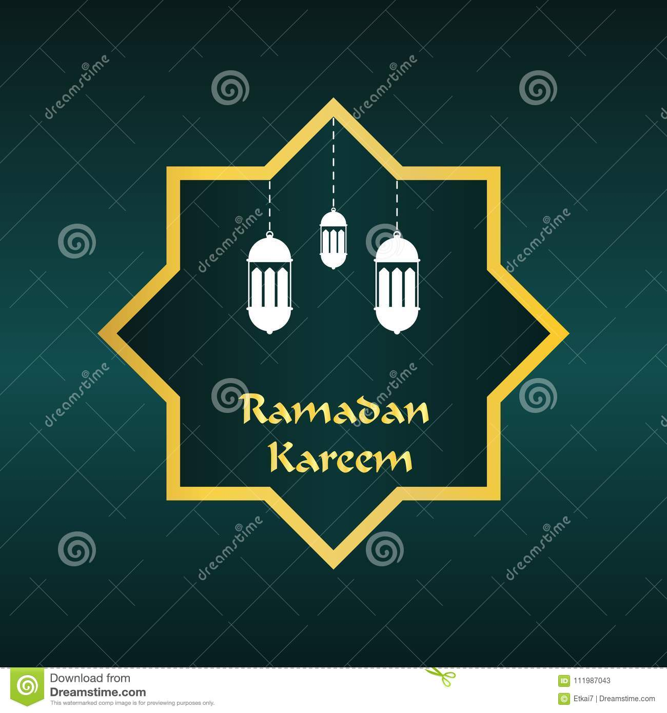 Ramadan Kareem Greeting Card With Islamic Ornaments And Candle V