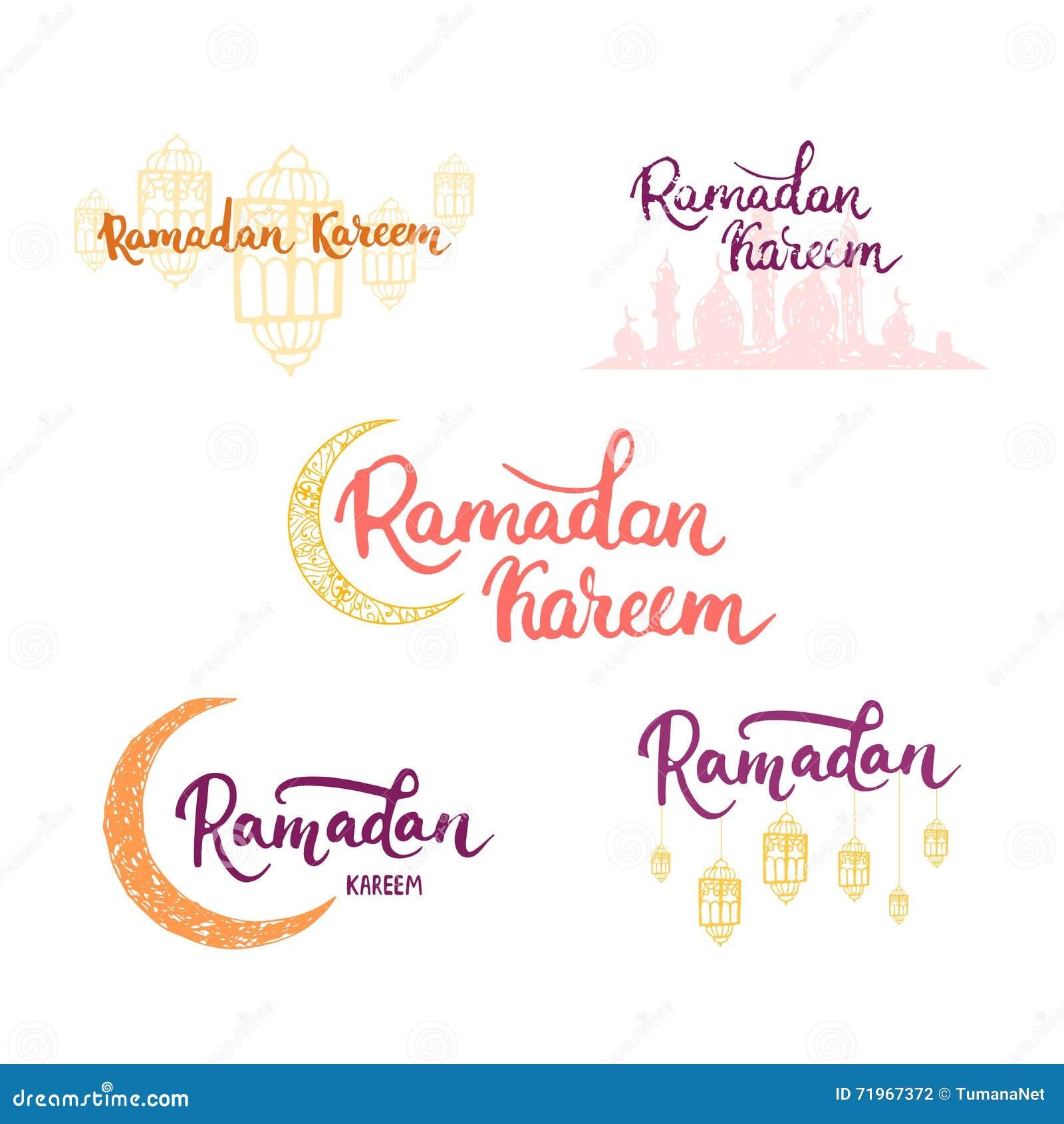 Ramadan kareem greeting cards set background with moon lanterns ramadan kareem greeting cards set background with moon lanterns lettering and mosque vector illustration for ramadan kristyandbryce Gallery
