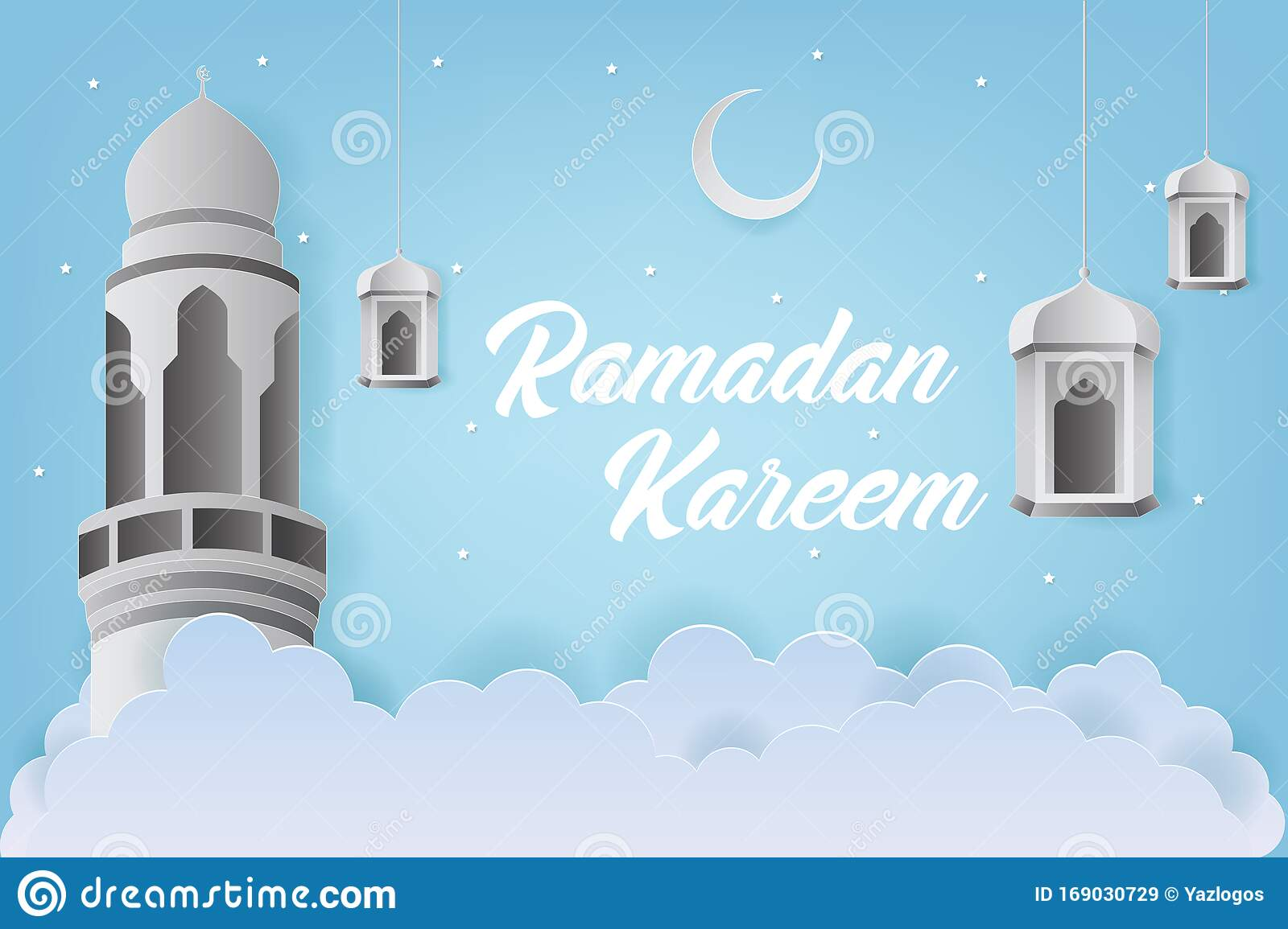 Ramadan Kareem Greeting Design With Tower Mosque And Lantern Vector Illustration Paper Art And Craft Style Stock Vector Illustration Of Paper Muslim 169030729