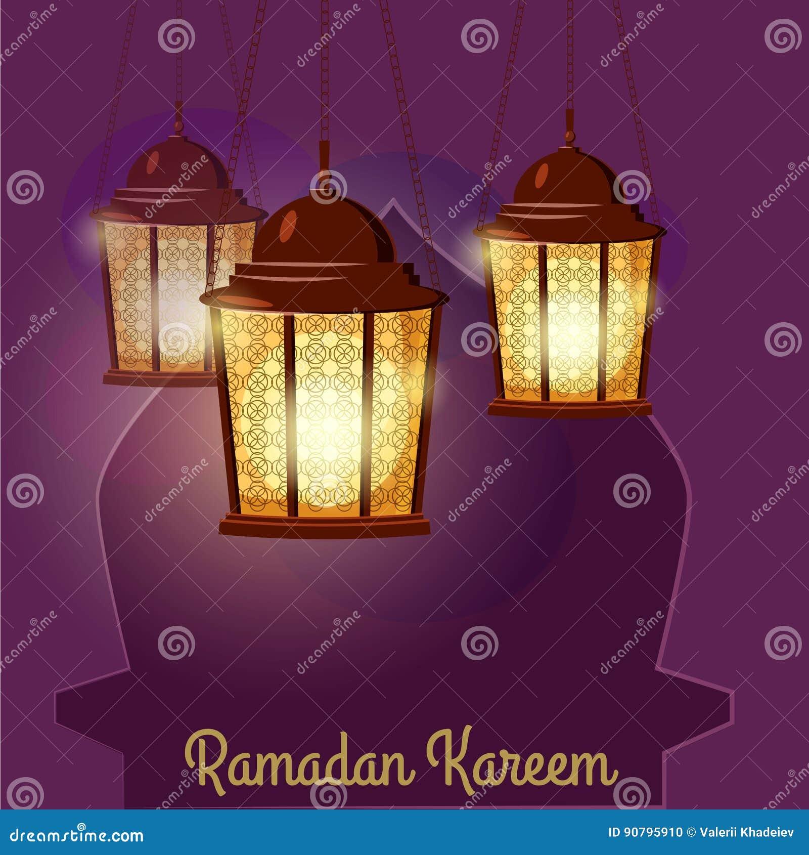 Ramadan Kareem Greetings Intricate Arabic-Lampen, Vektorillustration