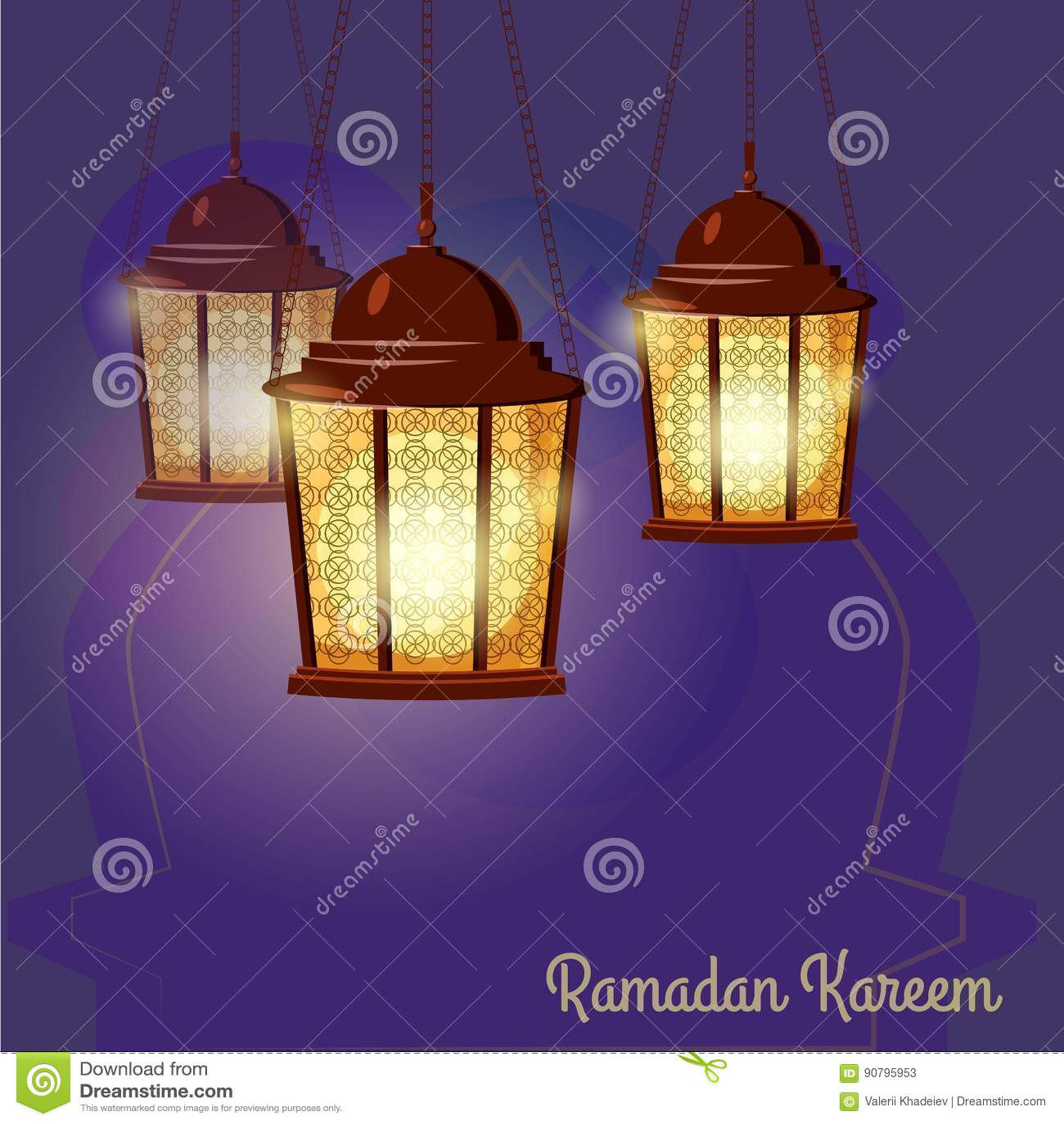 Ramadan Kareem Greetings Intricate Arabic lampor, illustration