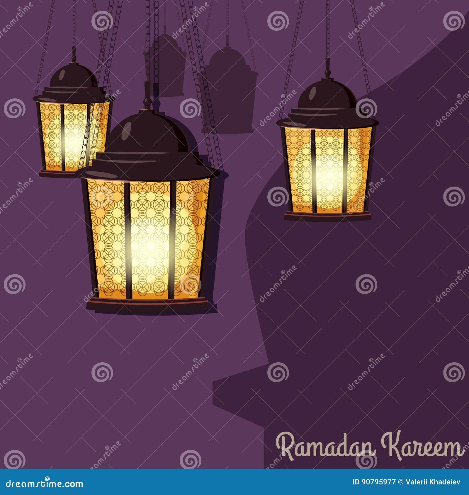 Ramadan Kareem Greetings Intricate Arabic lampor, vektorillustration