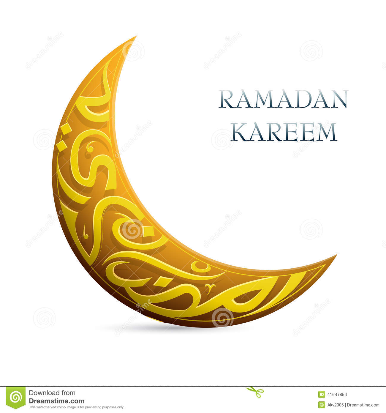 ... Greetings Shaped Into Crescent Moon Stock Vector - Image: 41647854