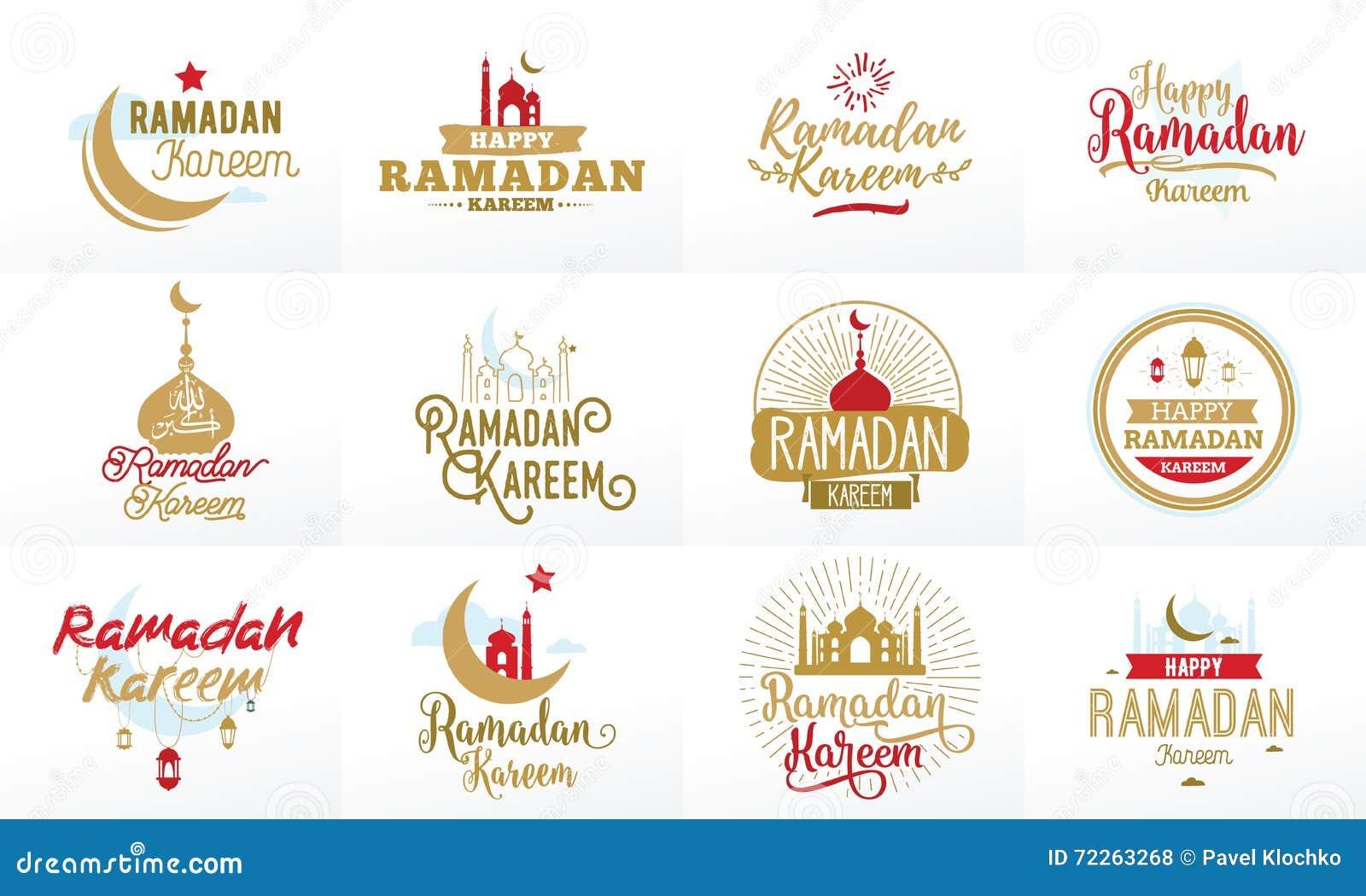 Ramadan Kareem Grupo tipográfico do projeto do vetor