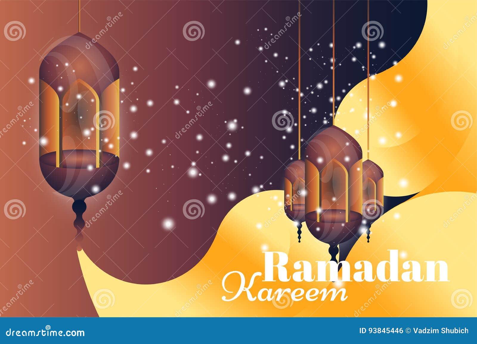 Ramadan Kareem hälsningkort Härliga glödande lampor på en bakgrund för illustrationsköld för 10 eps vektor