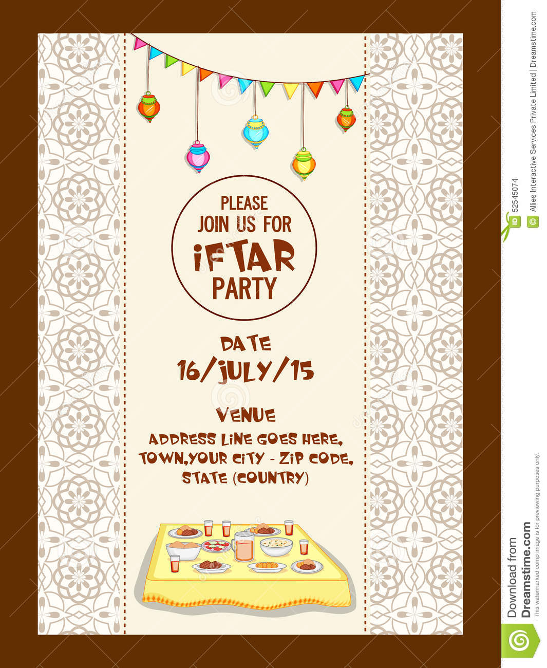 Ramadan Kareem Iftar Party Celebration Invitation Card Design – Party Invitation Card Design