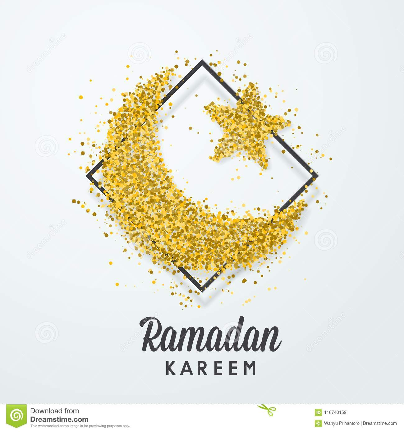 ramadan kareem islamic greeting card gold glitter moon template