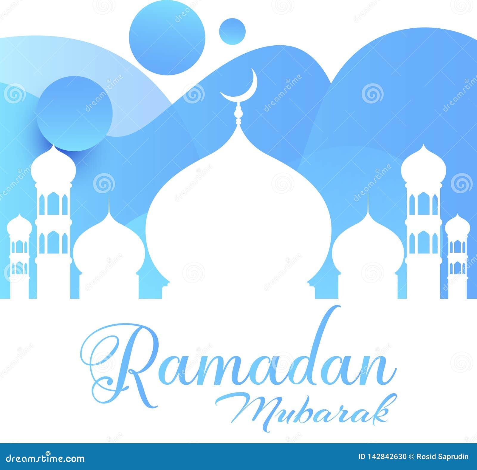 Ramadan Kareem kartka z pozdrowieniami Błękitnawy wektor w Ramadan meczecie - wektor