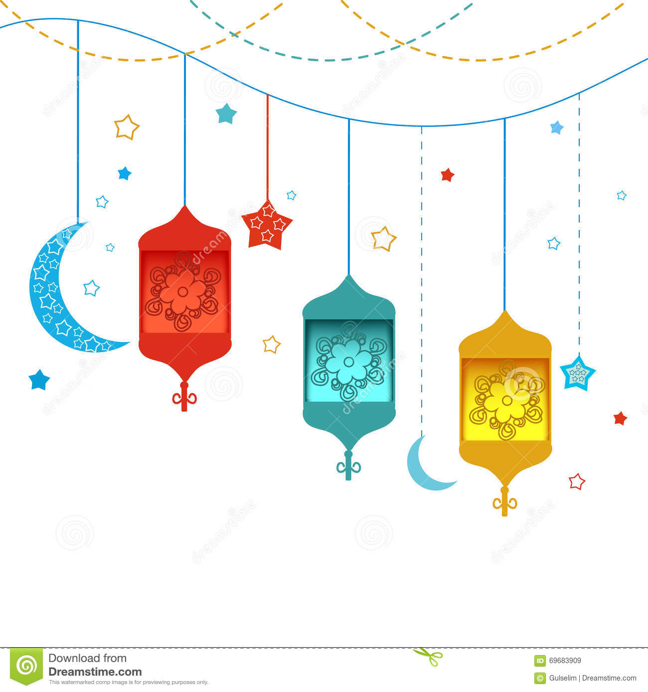 Ramadan Kareem With Lamps, Crescents And Stars. Traditional Lantern ... for Ramadan Lantern Clipart  173lyp