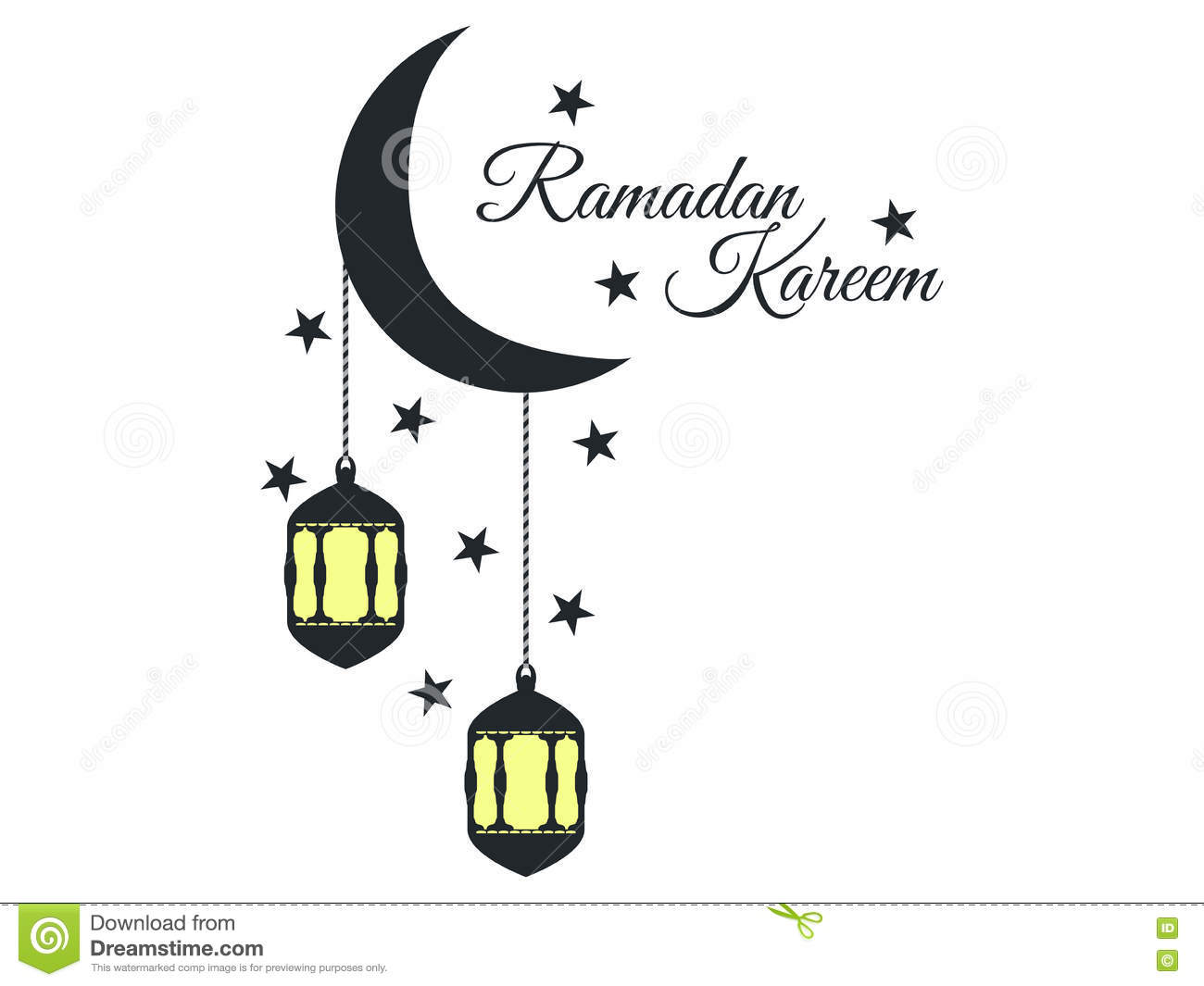 Ramadan Kareem Lantern And Moon Muslim Holiday Lights On A White Background