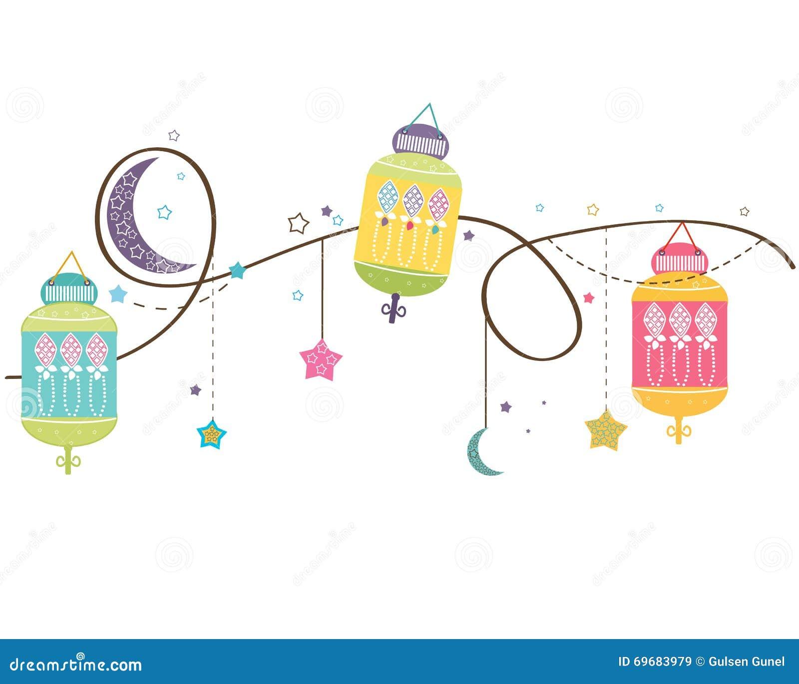 Ramadan Kareem med färgrika lampor, halvmånformig och stjärnor Traditionell lykta av Ramadanvektorbakgrund