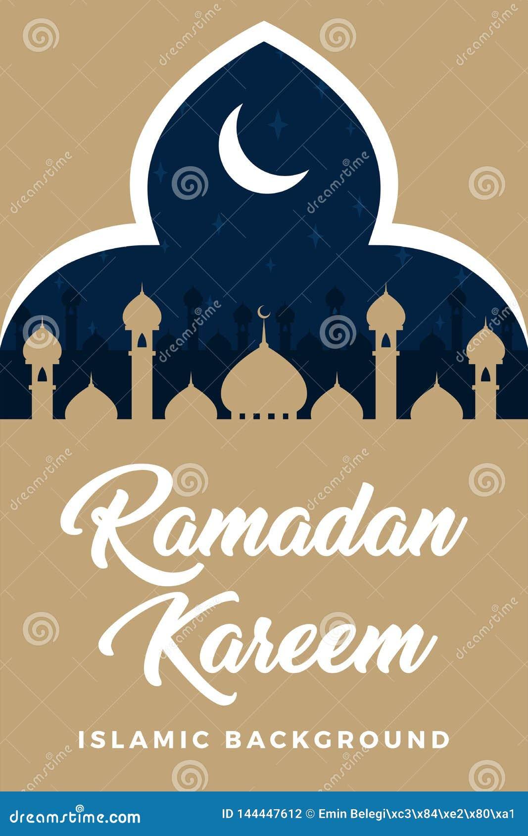 Ramadan Kareem Ramadan Mubarak Greeting Card Vector Illustration Ep Stock Illustration Illustration Of Message Arabian 144447612