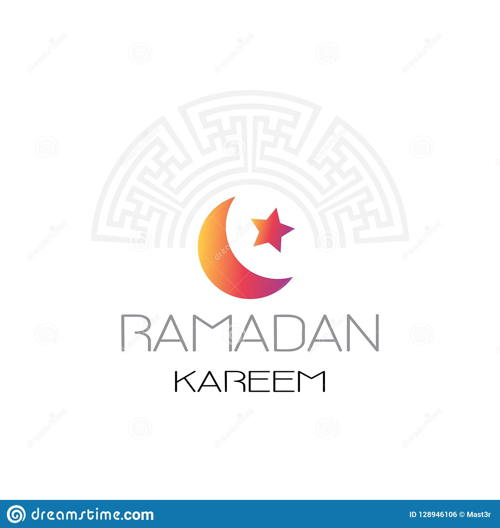 Ramadan kareem muslim religion holy month flat greeting card template on white background