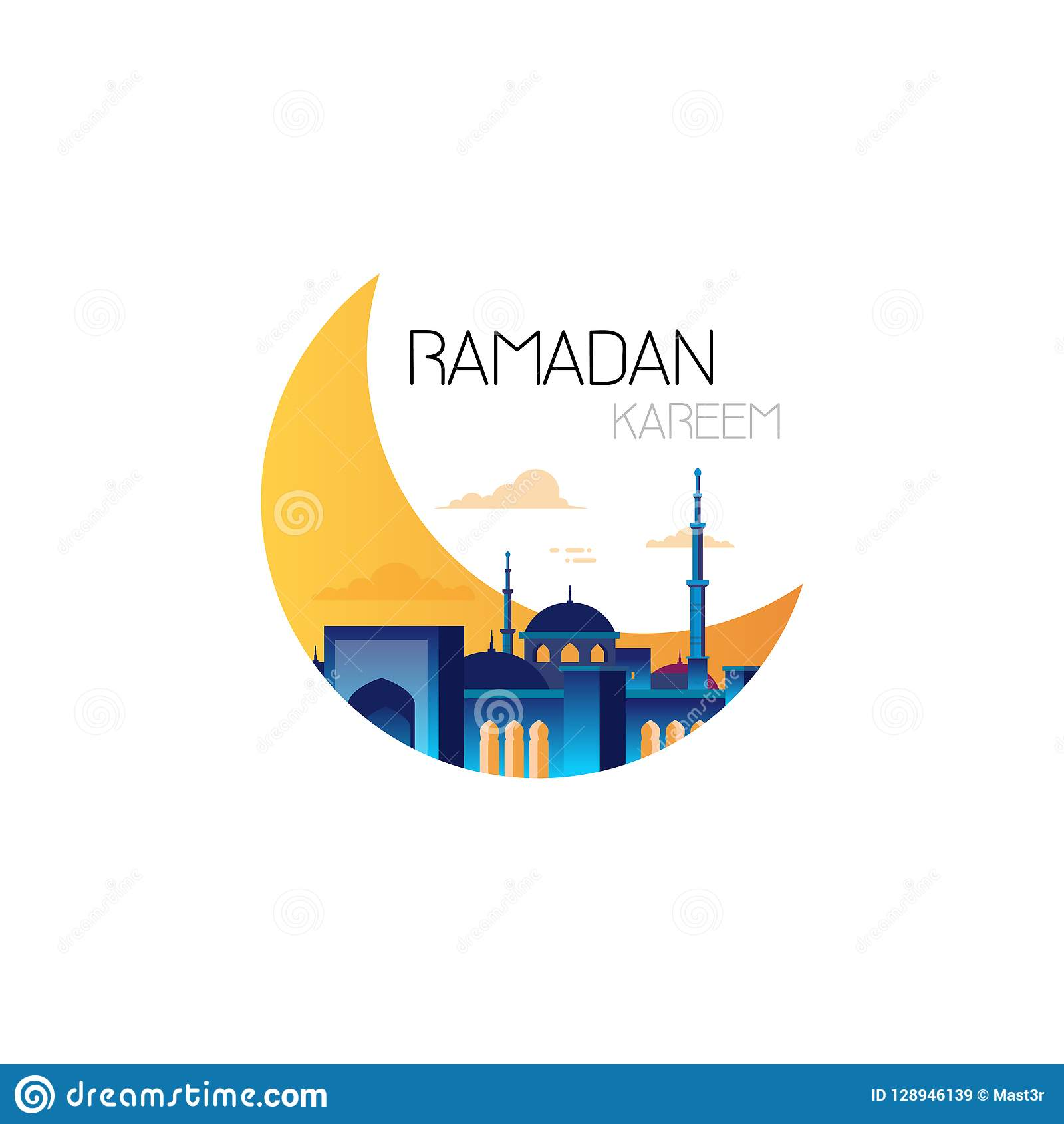Ramadan kareem muslim religion holy month flat greeting card template on white background