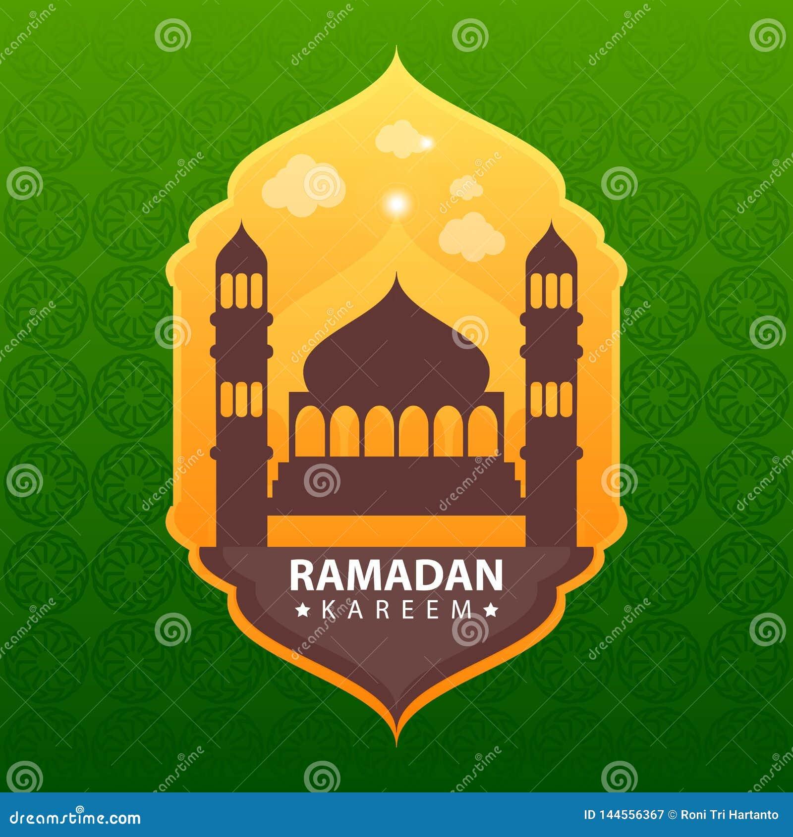 Ramadan kareem na zielonym abstrakcjonistycznym tle