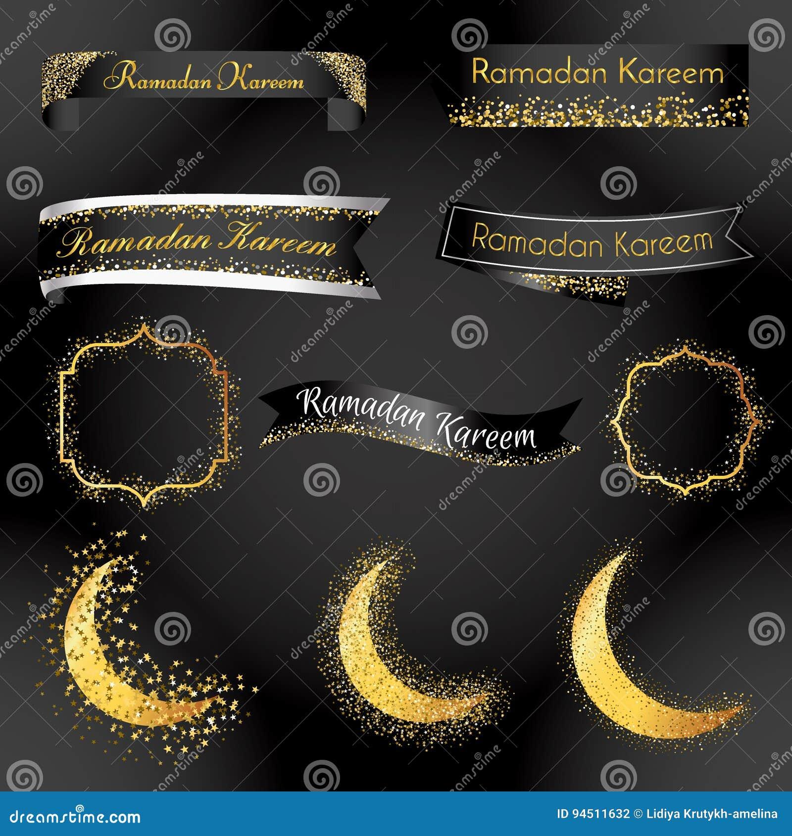 Ramadan Kareem Ribbon And Label Template. Vector Object Badge For ...