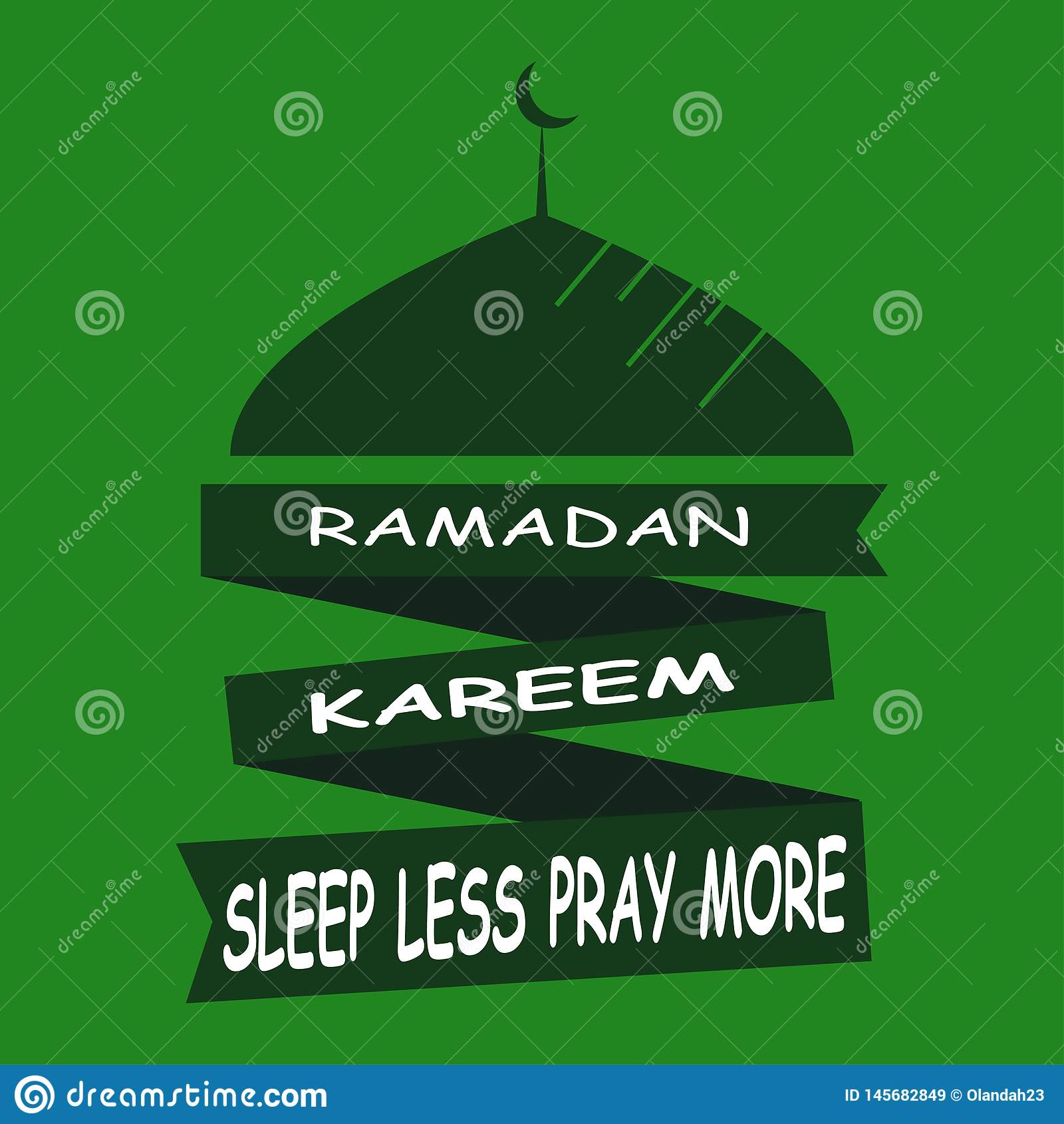 Ramadan Kareem Sleep Less Pray More islamisk designmoskékupol