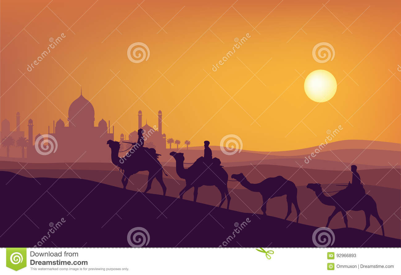 Ramadan kareem sunset illustration. A man ride camel silhouette with sunset mosque