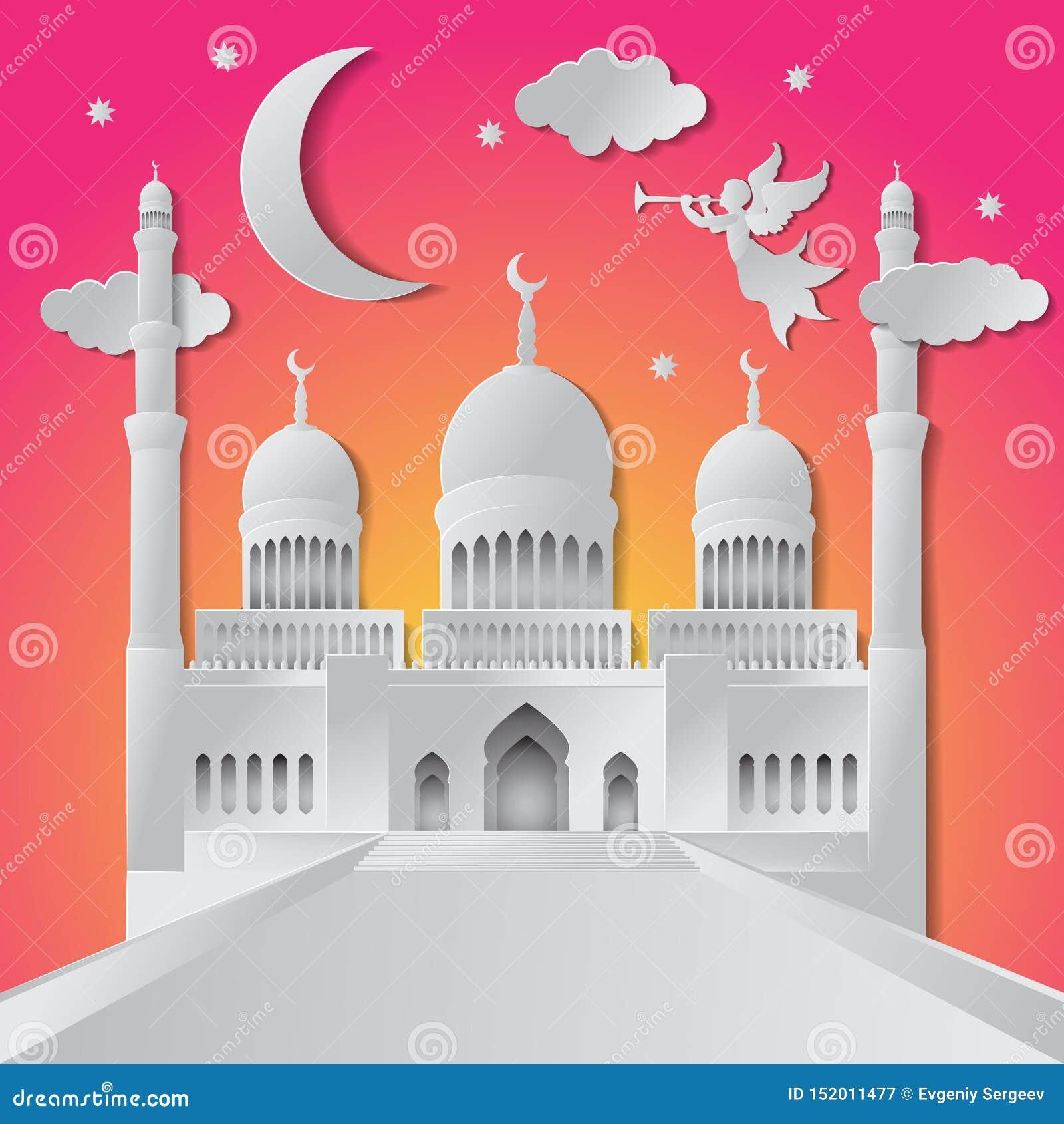Ramadan kareem tła ilustracyjny anioł, musical trąbka, meczet, księżyc, gwiazda i chmury, papieru ci?cie r?wnie? zwr?ci? corel il