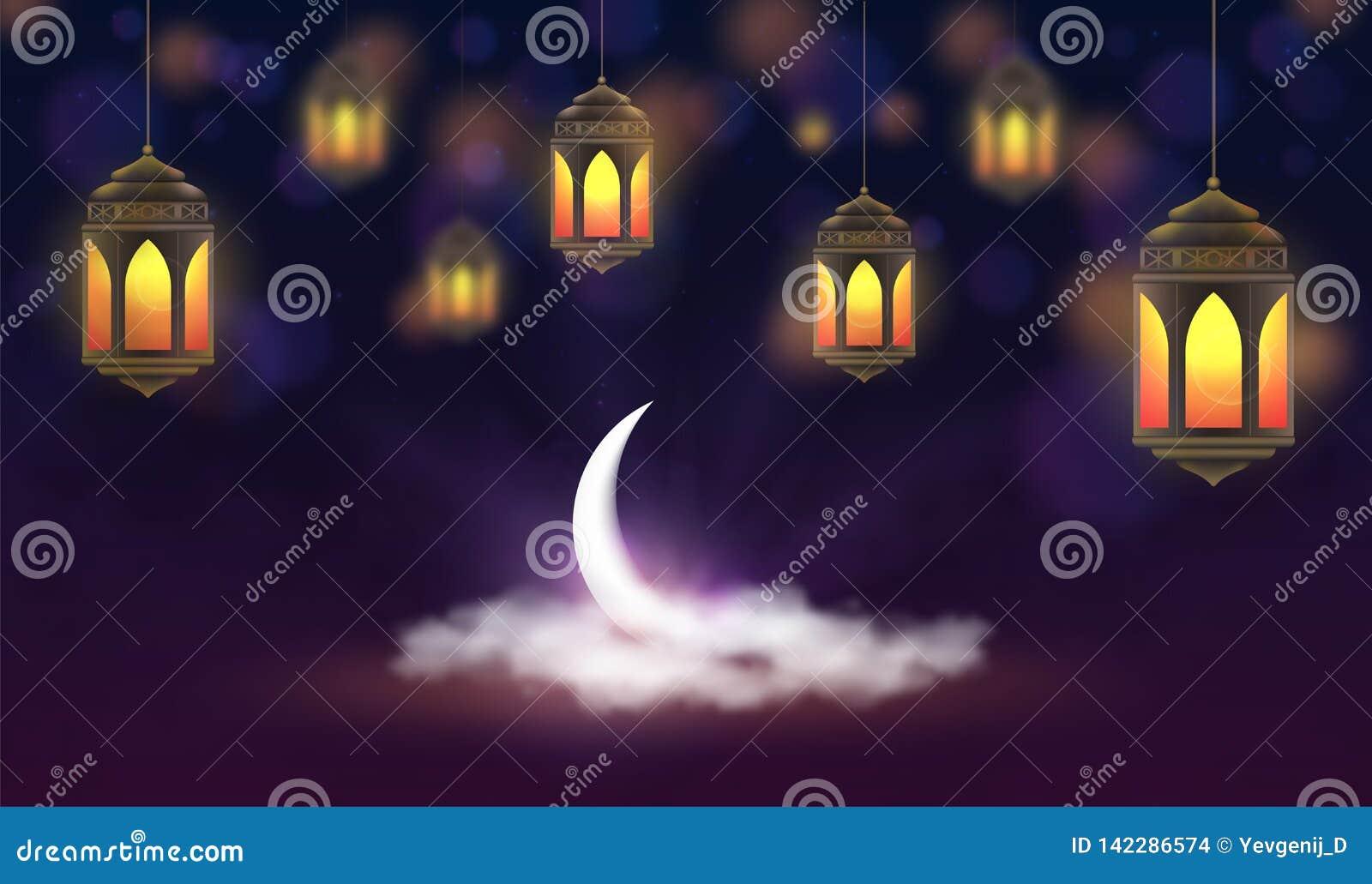 Ramadan Kareem tło Wiszący lampiony i półksiężyc w chmurach Muzułmańska uczta święty miesiąc
