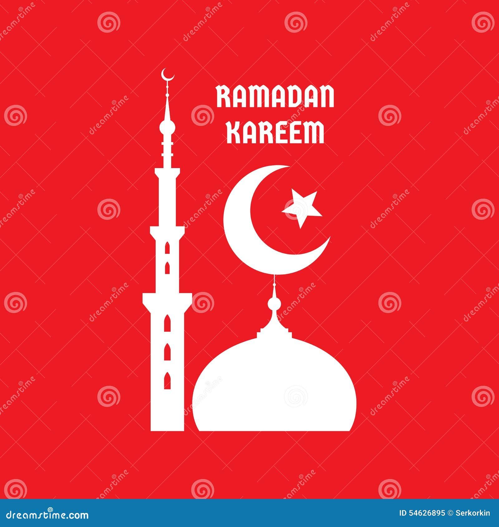 Ramadan Kareem - Vector Concept Illustration Sign On Red ...