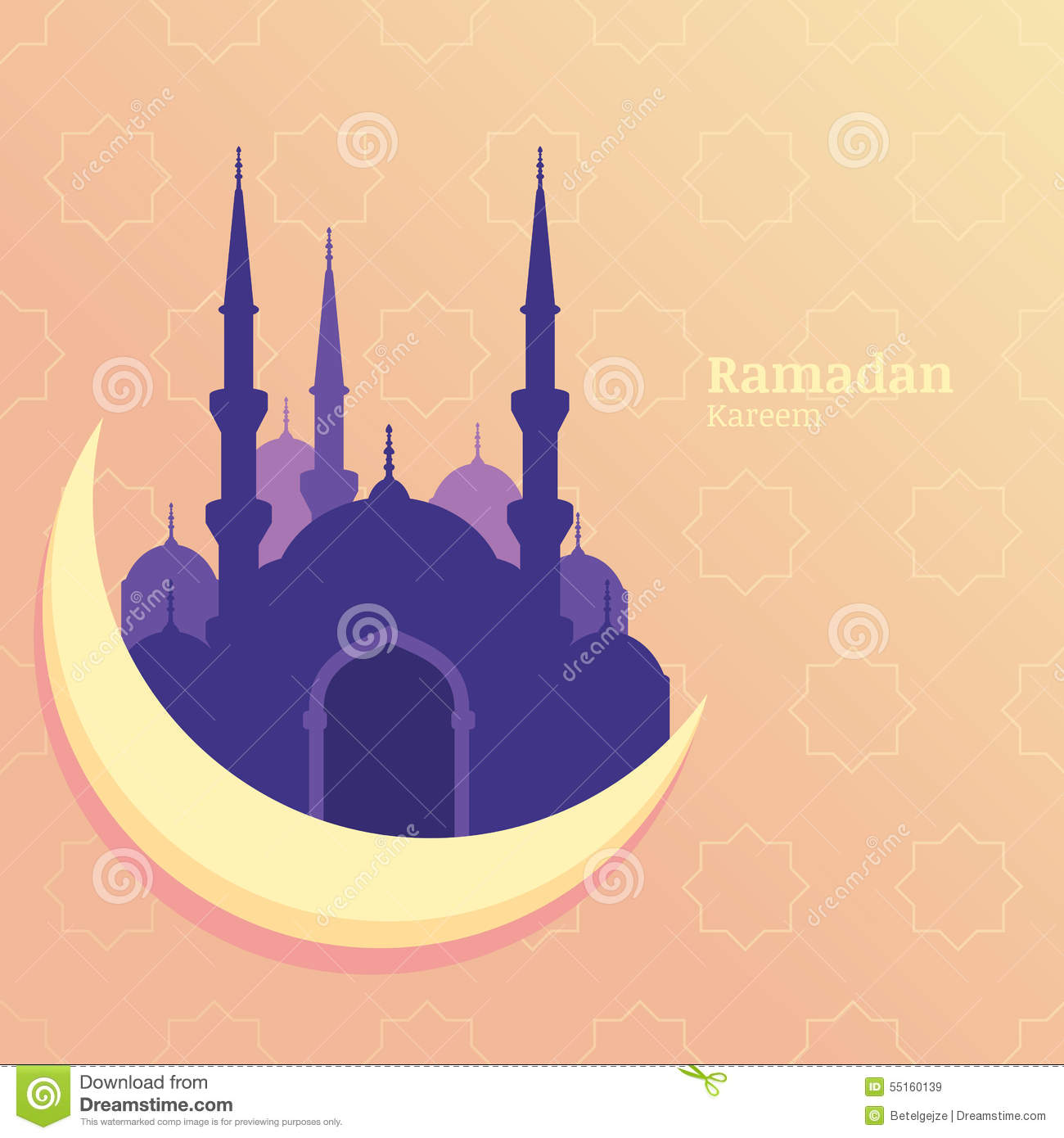 Mosque background for ramadan kareem stock photography image - Ramadan Kareem Vector Greeting Card Silhouette Of Purple Mosque Royalty Free Stock Images