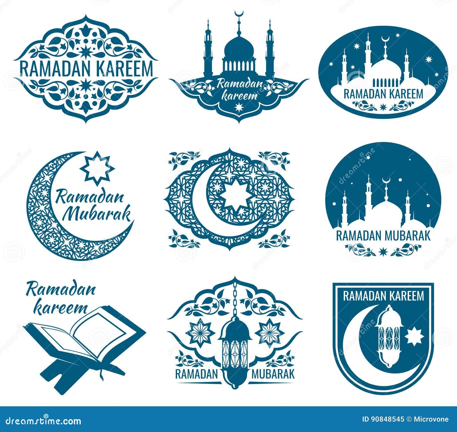 Ramadan Kareem Vector Labels Vintage Badges With Arabian