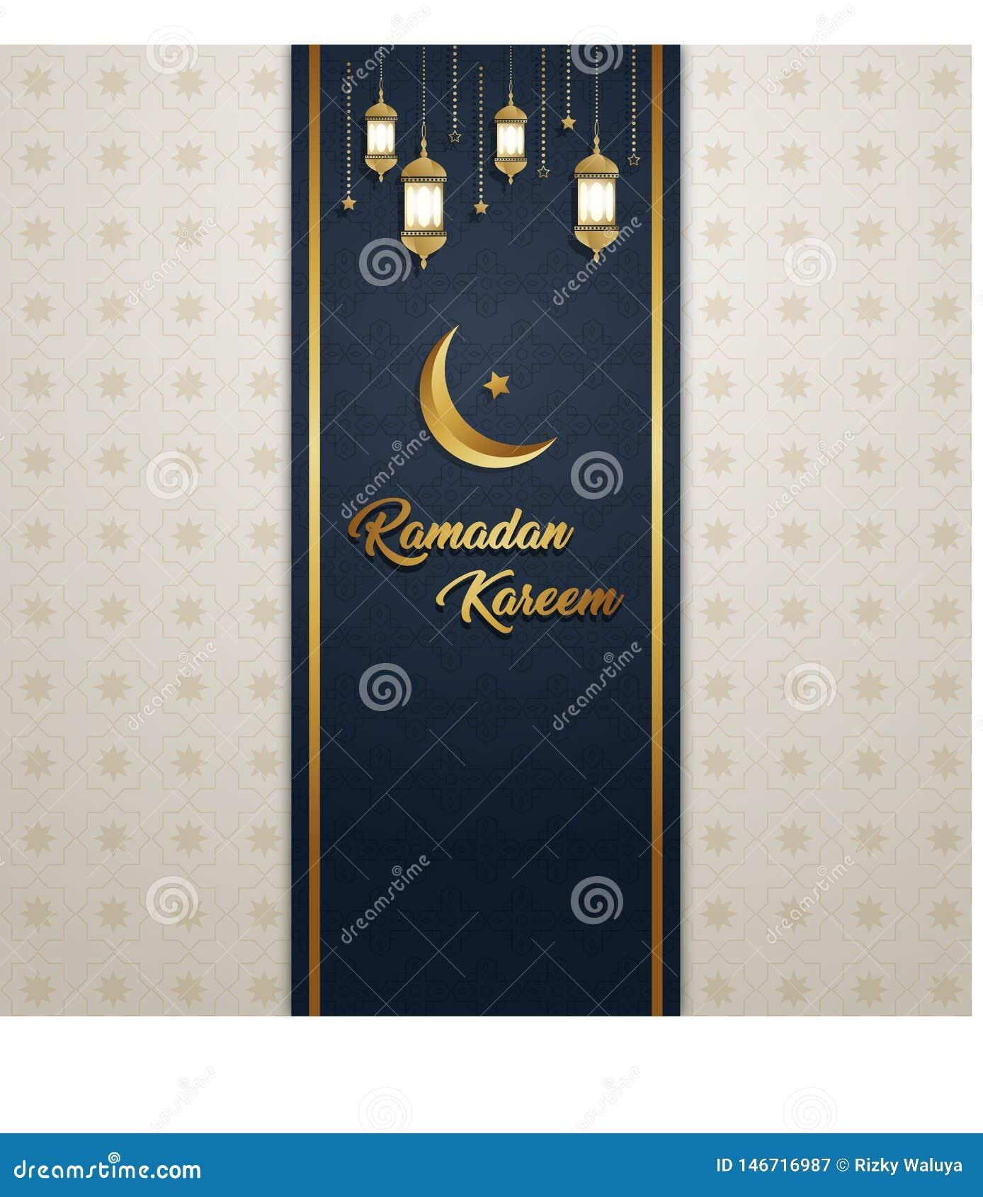 Ramadan Kareem zaproszenia sztandaru księżyc i lampionu tła wzór