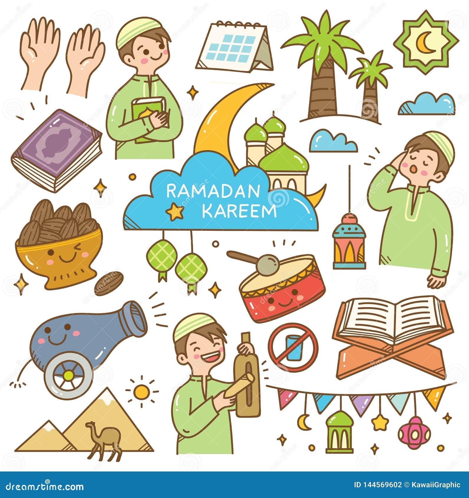 Ramadan kawaii doodles