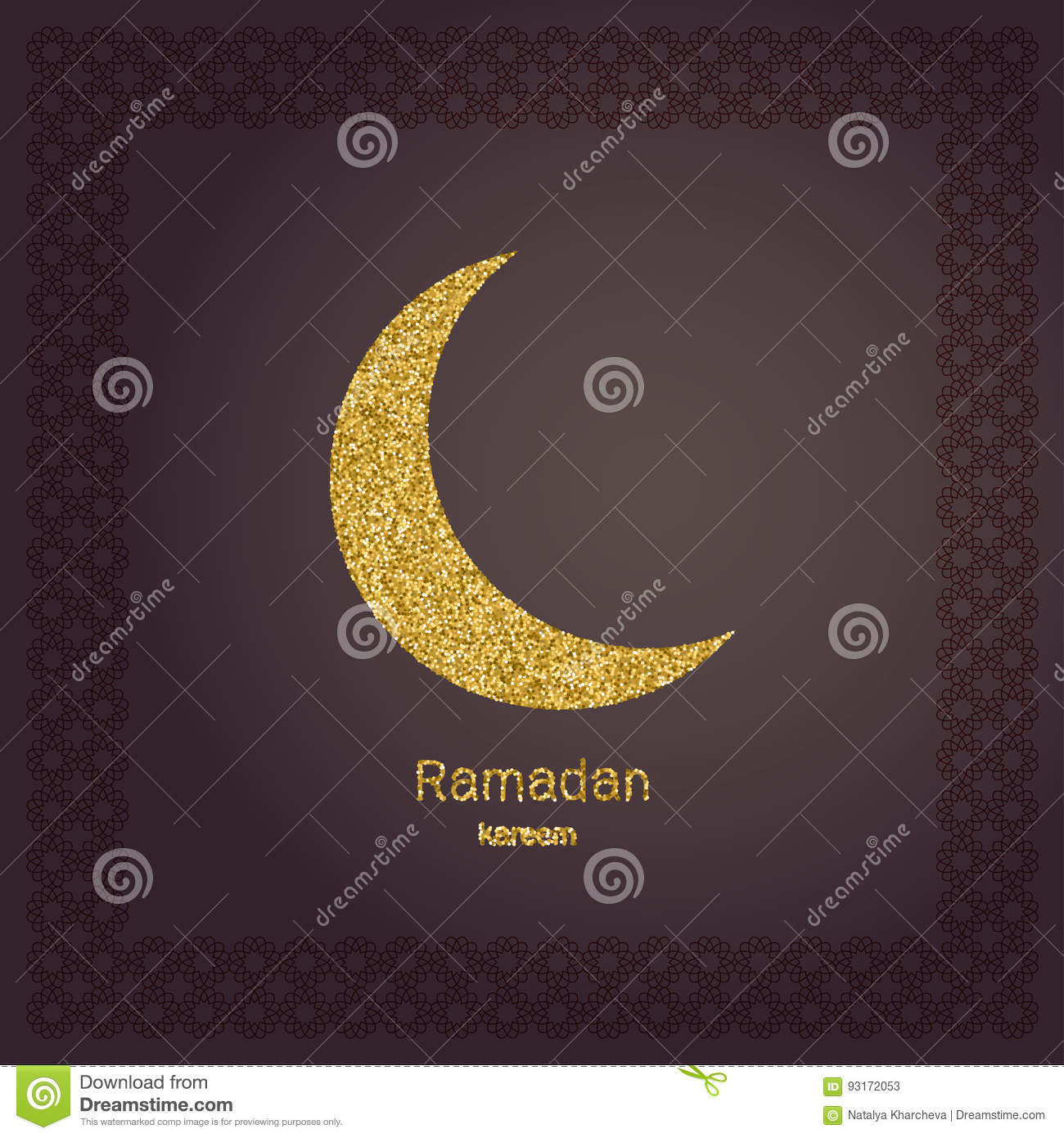 ramadan kerim gold glitter moon template design for greeting card