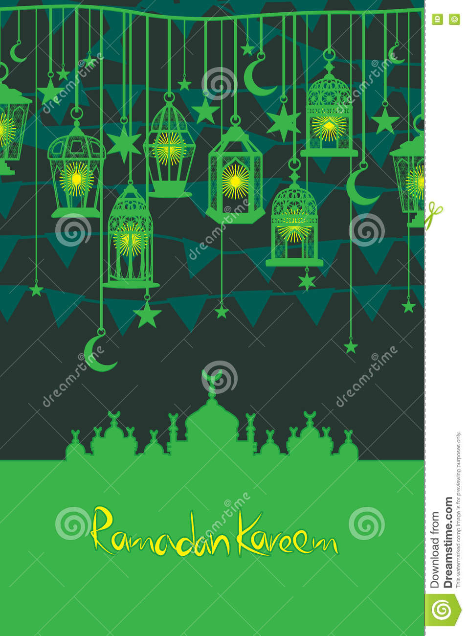 Ramadan lantern flag hang vertical card