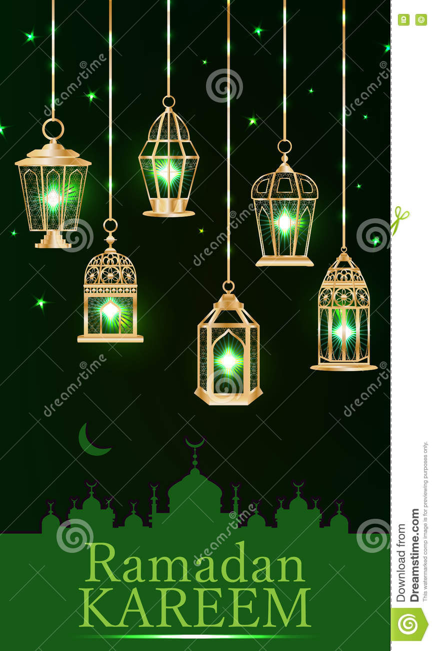 ramadan lantern green light vertical stock photo