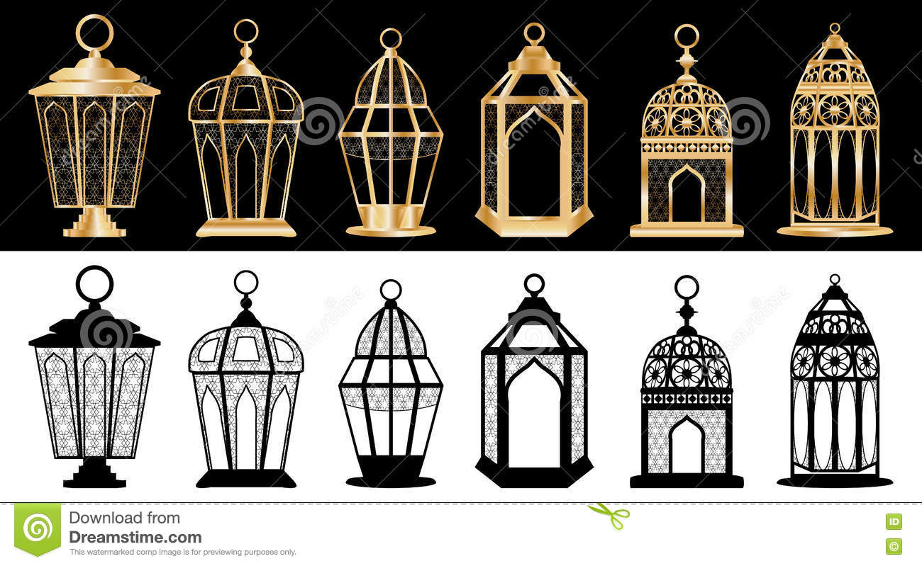 Ramadan lantern set stock vector. Illustration of celebration - 72249613 for Ramadan Lamp Drawing  157uhy