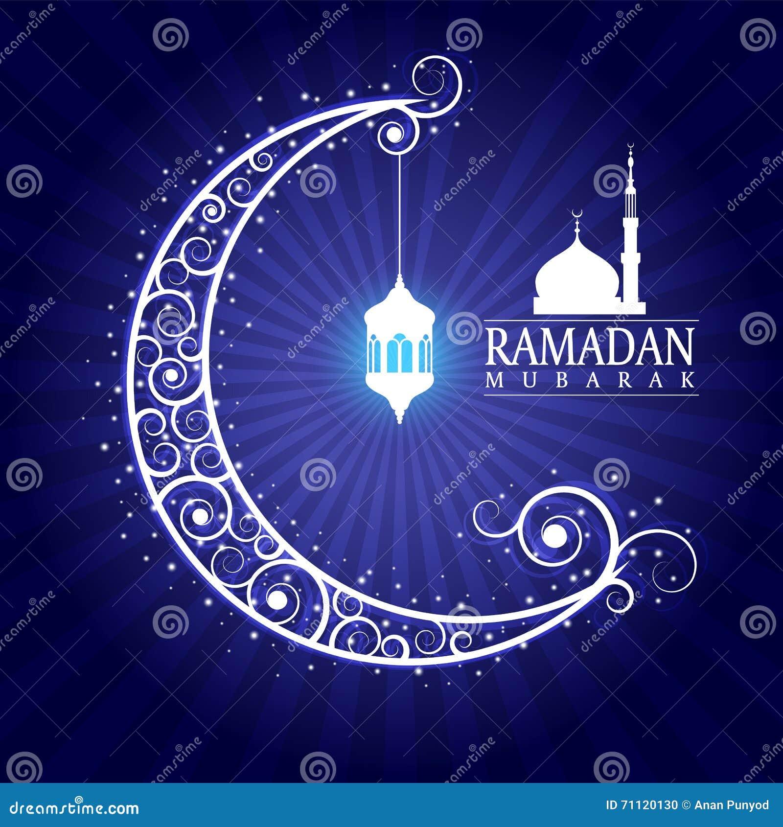 ramadan mubarak hanging lamps on moon and masjid on blue
