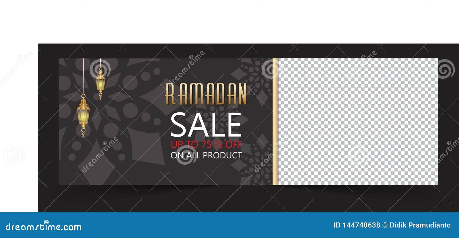 Ramadan sale banner with black background