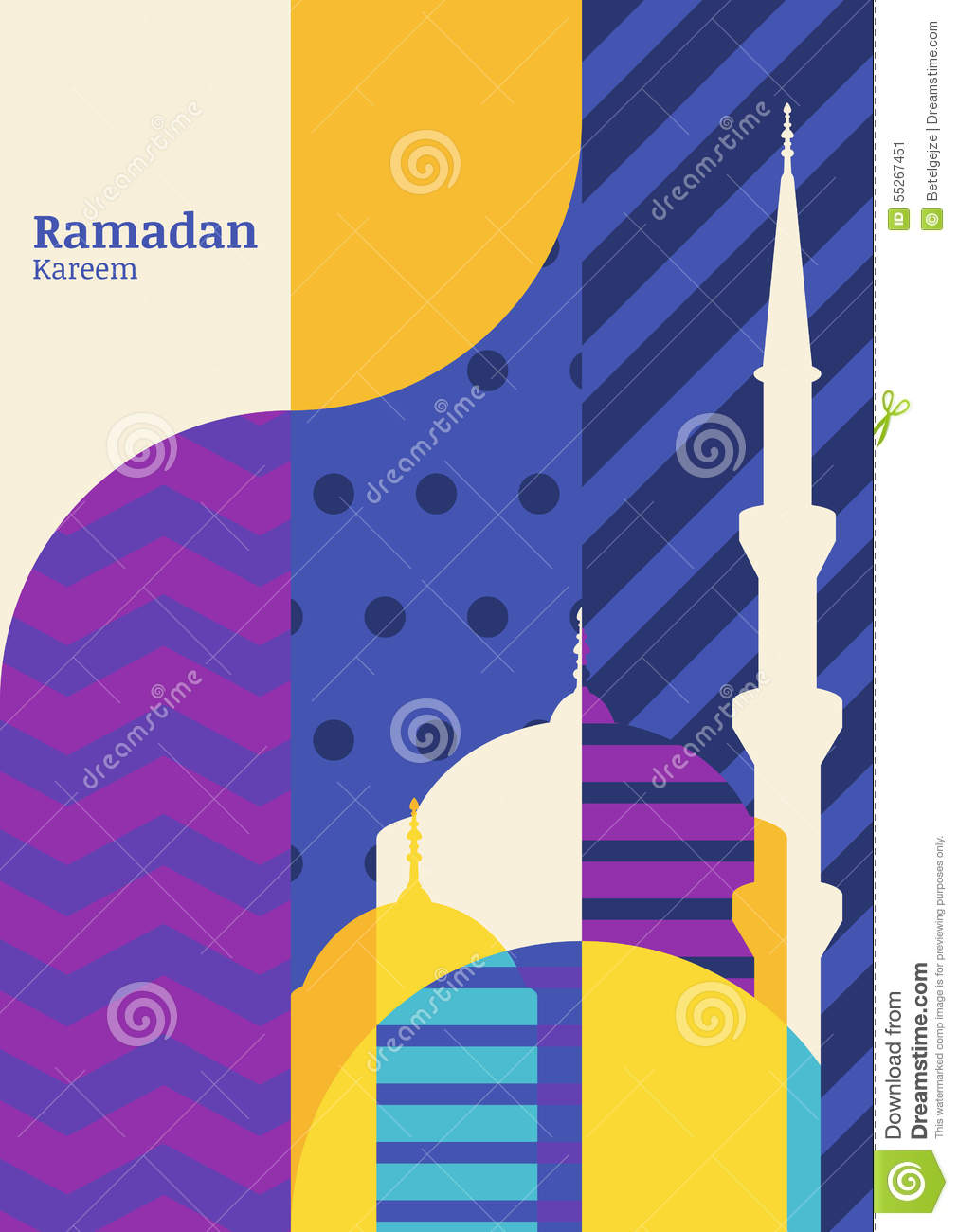 Ramadan vector greeting card, silhouette of mosque with geometric pattern. Abstract flat color blocking vector background. Ramada
