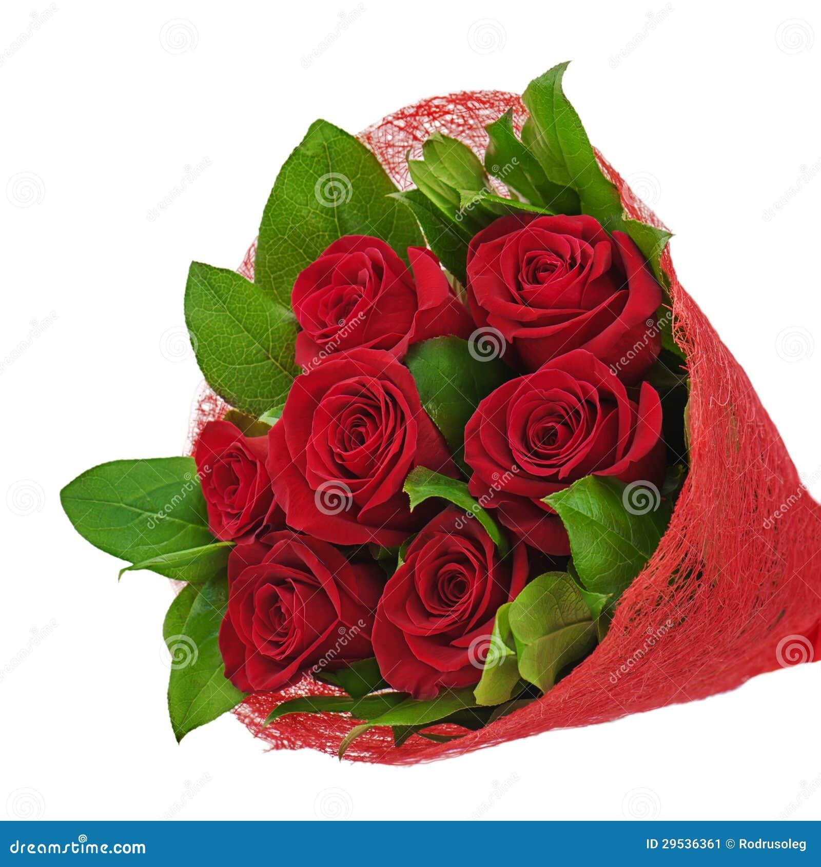 Ramalhete colorido da flor das rosas vermelhas isoladas no backgro branco