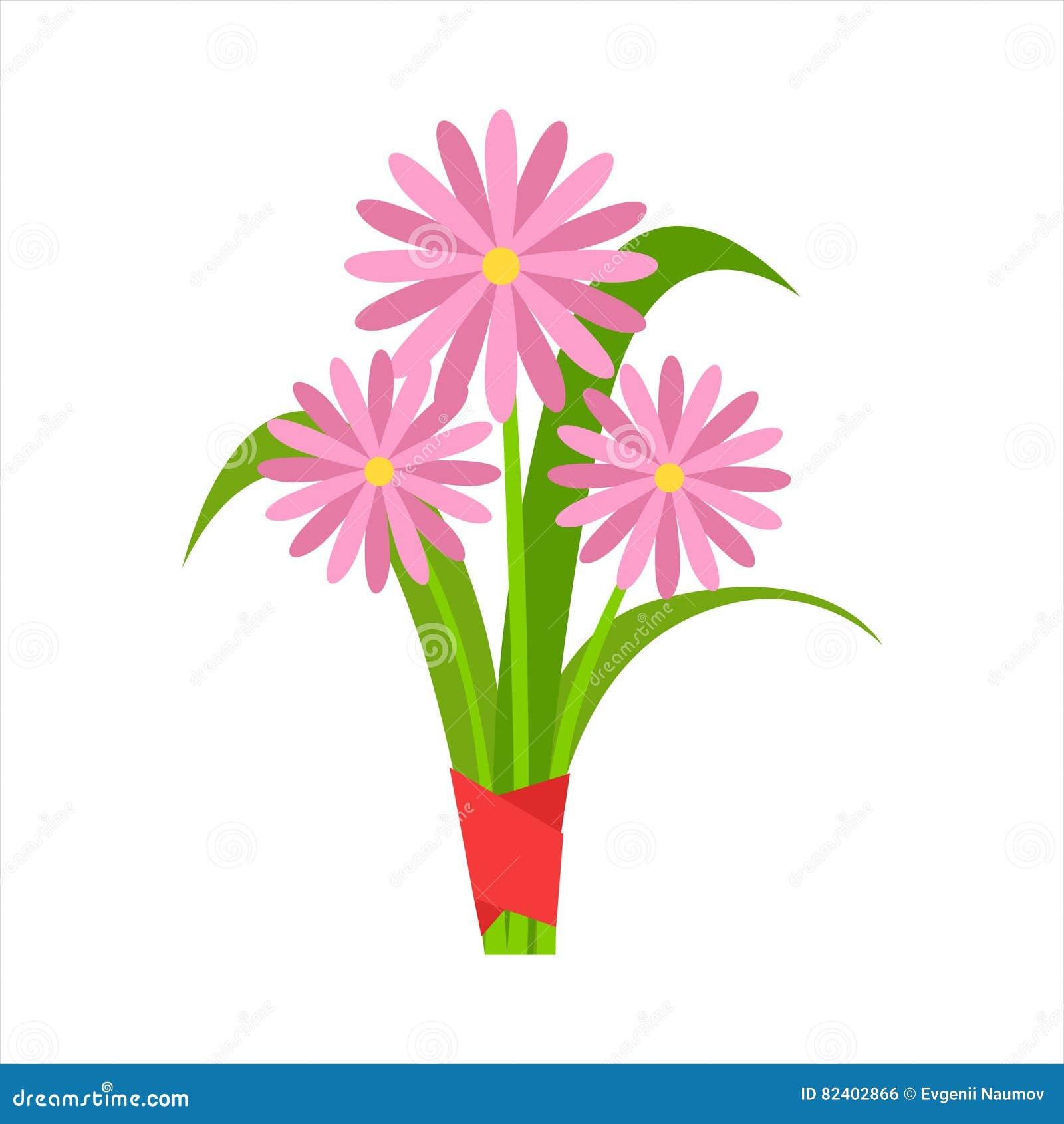 Ramalhete cor-de-rosa da flor da camomila da estufa para cultivo de laranjas amarrado com fita vermelha, vetor decorativo dos des