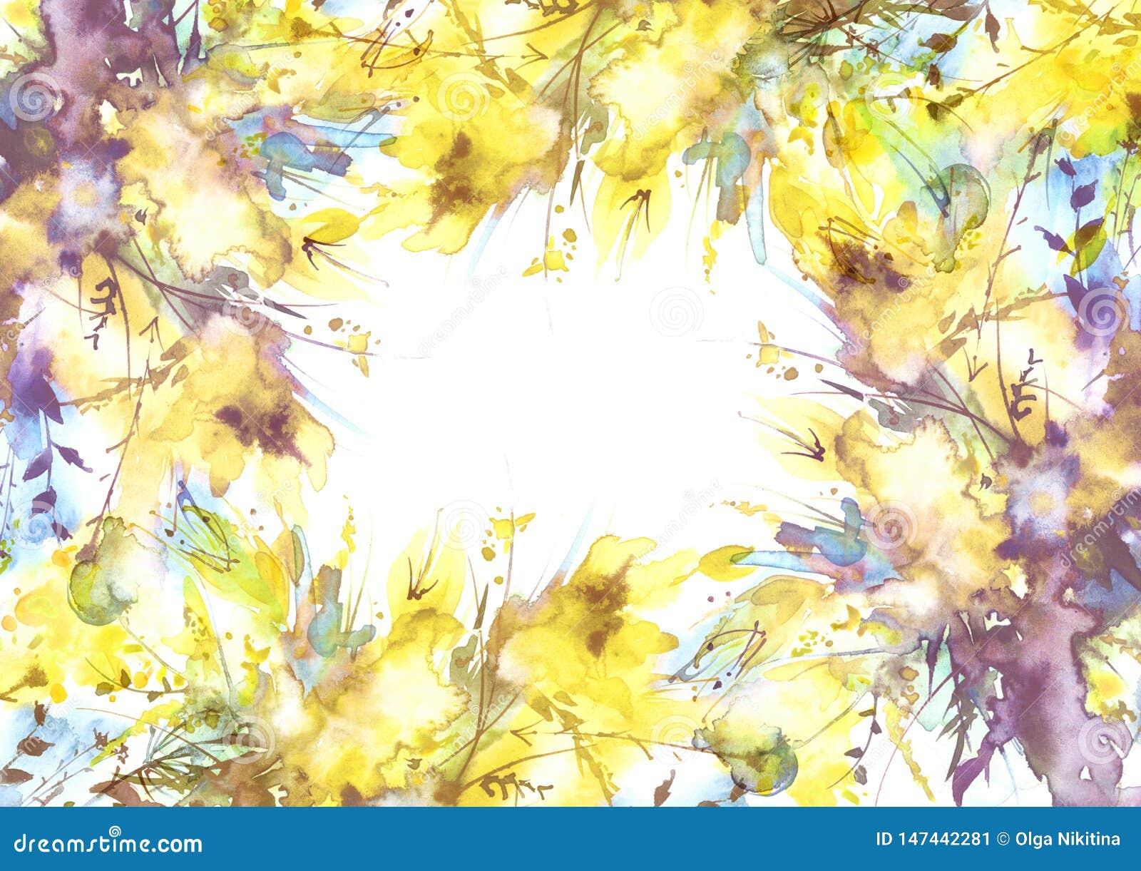 Ramalhete da aquarela das flores, flores da orqu?dea, papoila,