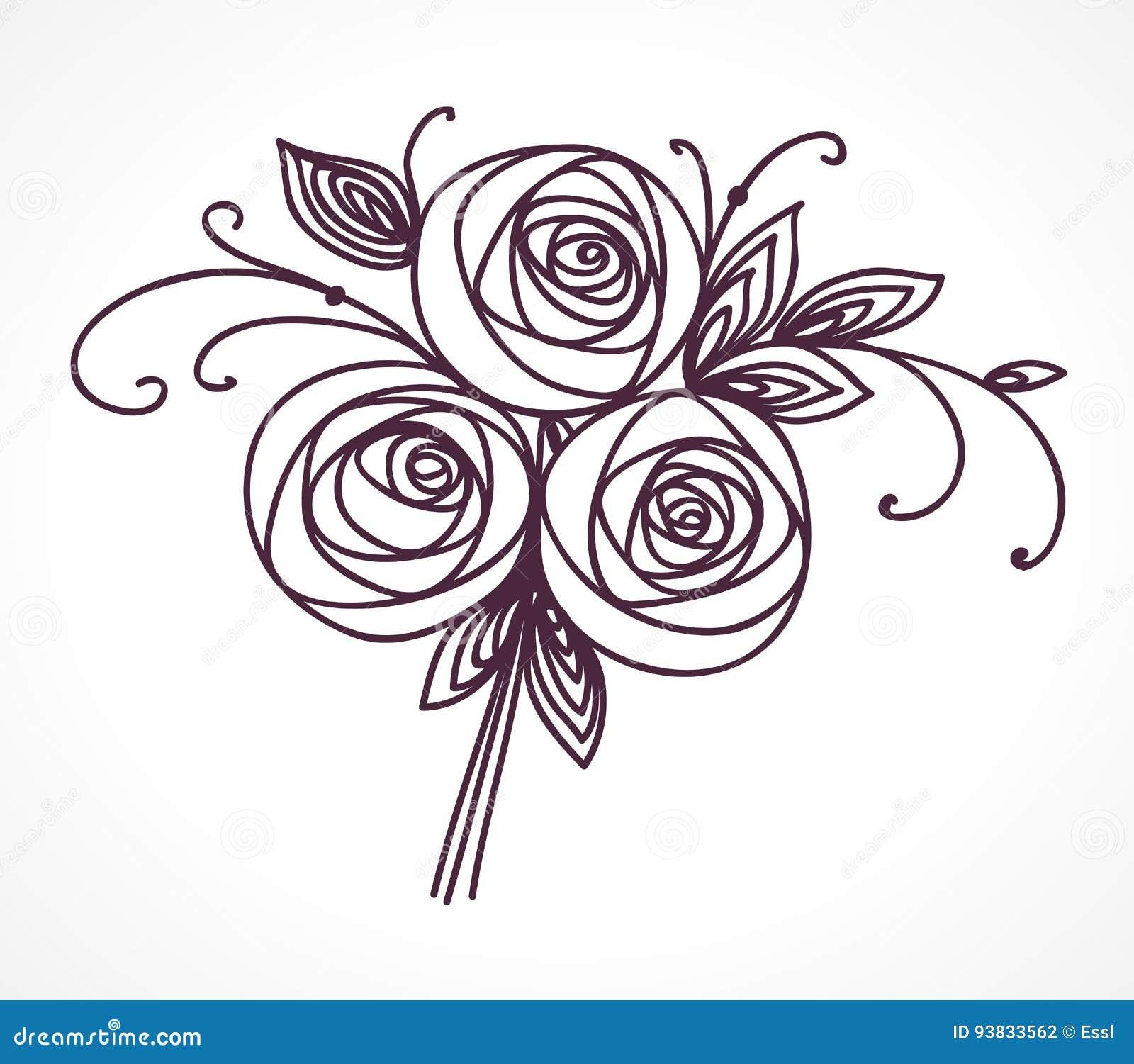 ramalhete da flor desenho estilizado da mão das rosas ilustração do