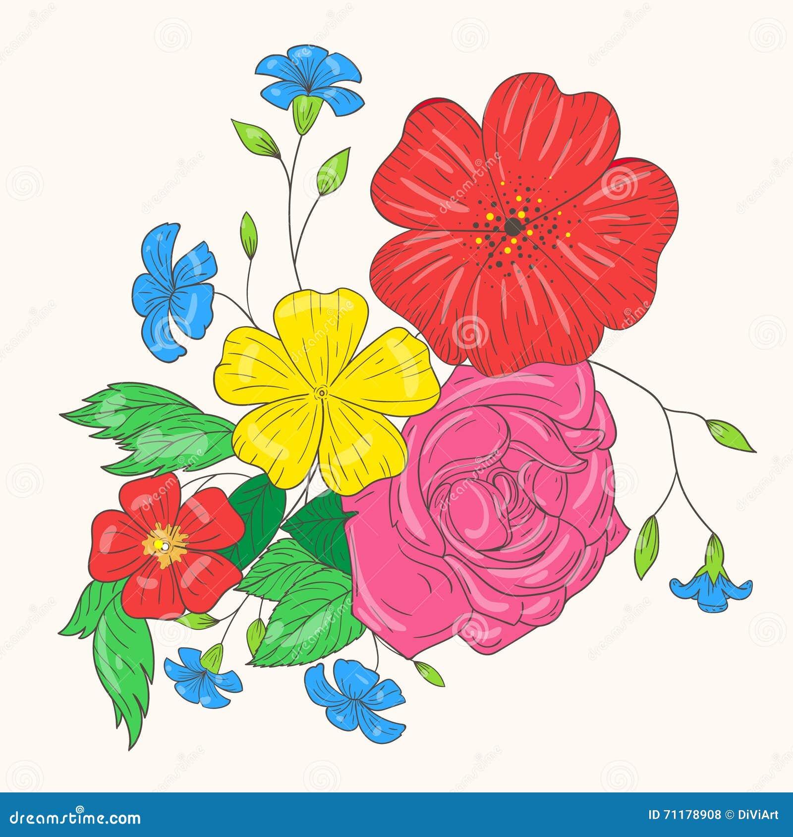 Ramalhete Do Vetor De Flores Coloridas Desenho Da Mao Ilustracao