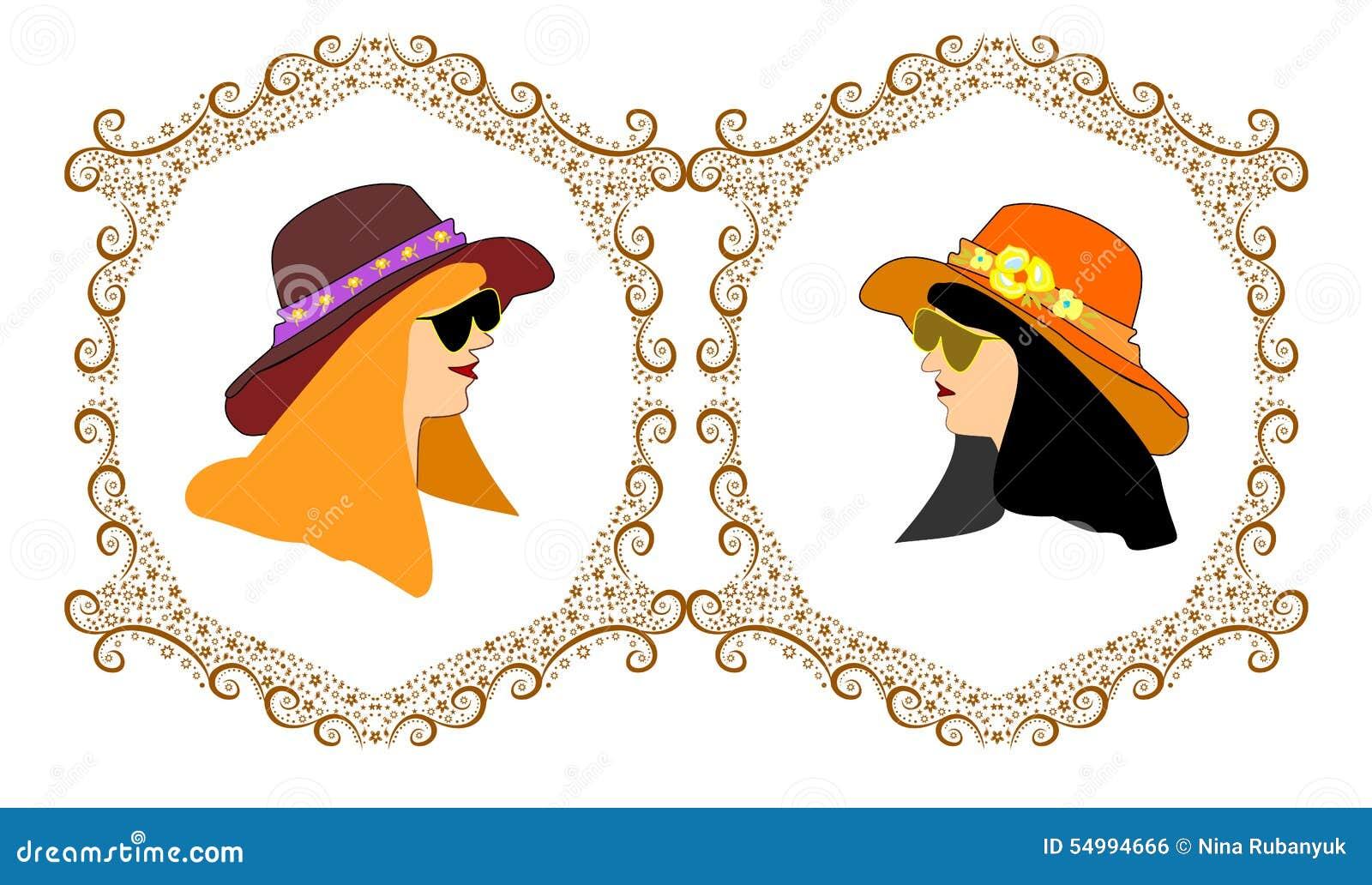 Ramar med hatten för två flickaavatars