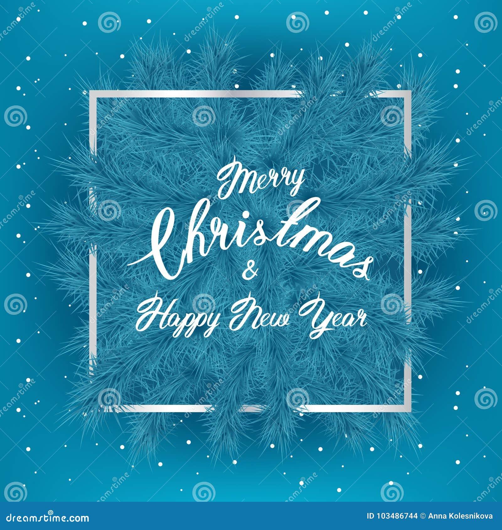 Ramas De árbol De Navidad Con Lema Y El Marco Fino De Plata Y Nieve ...