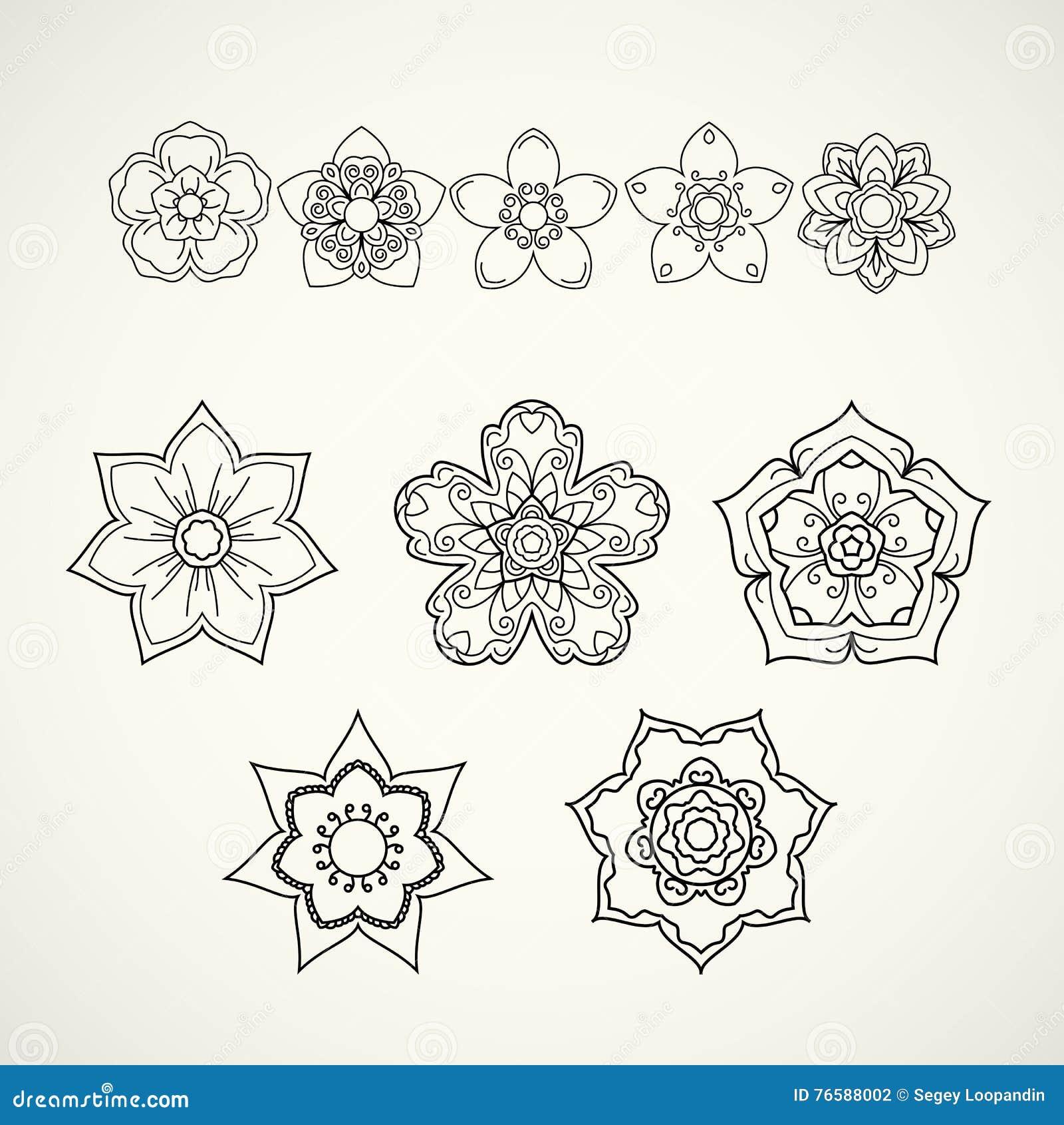 Ramassage d éléments de conception Icônes noires de fleur d isolement sur le wh