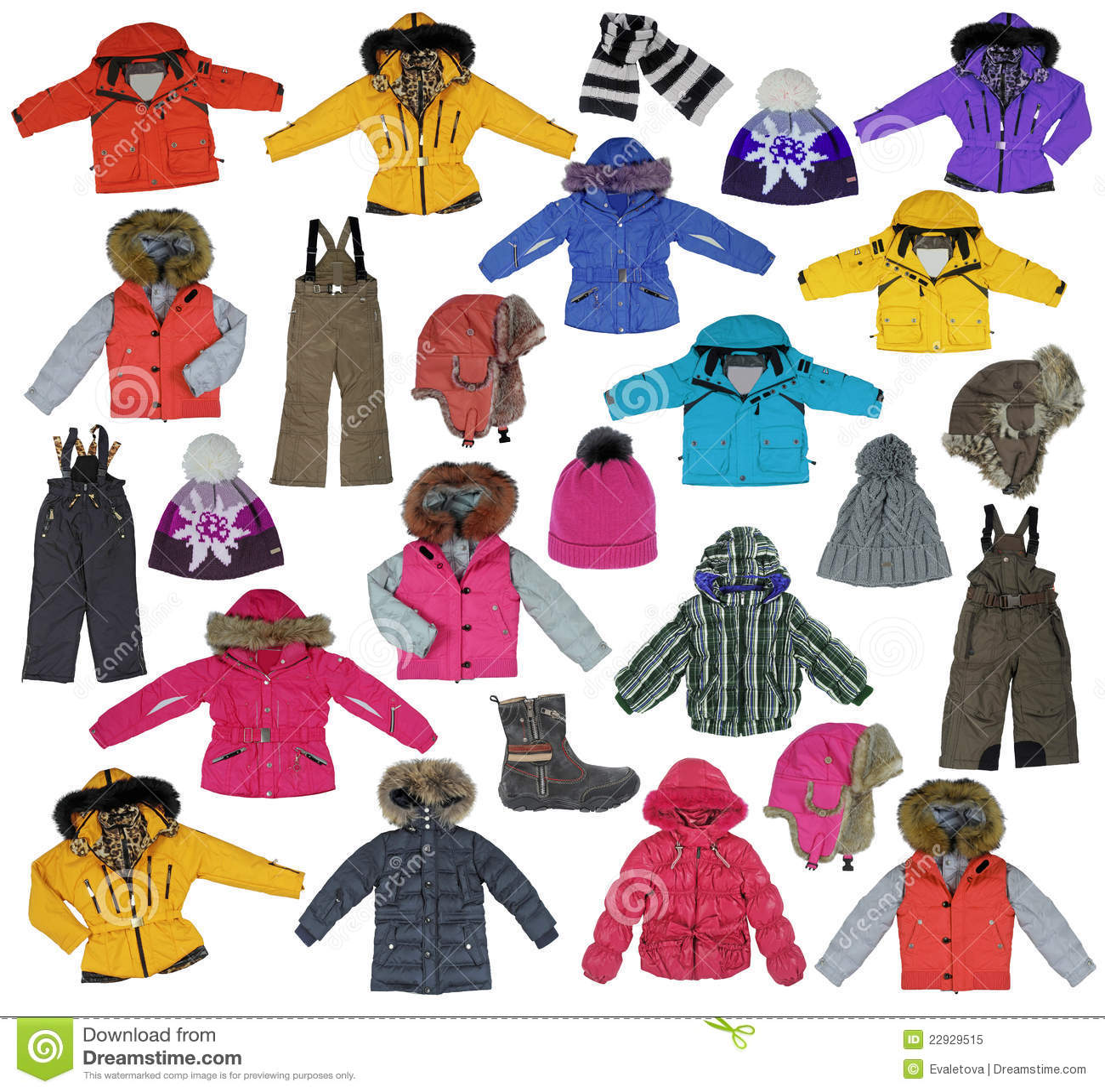 Ramassage d 39 enfants 39 v tement de l 39 hiver de s photo libre de droi - Les vetements d hiver ...