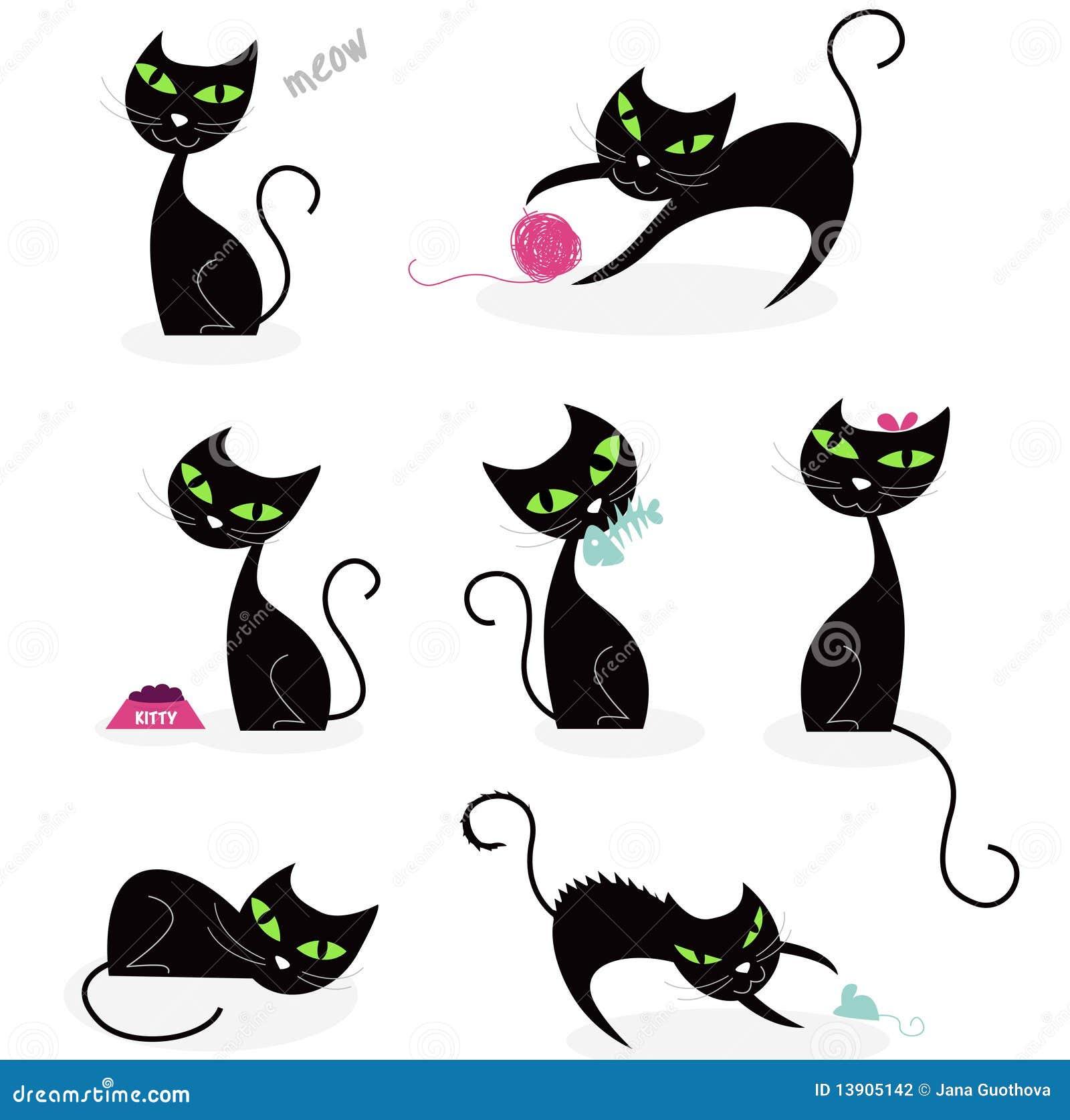Ramassage De Silhouette De Chat Noir Illustration De Vecteur